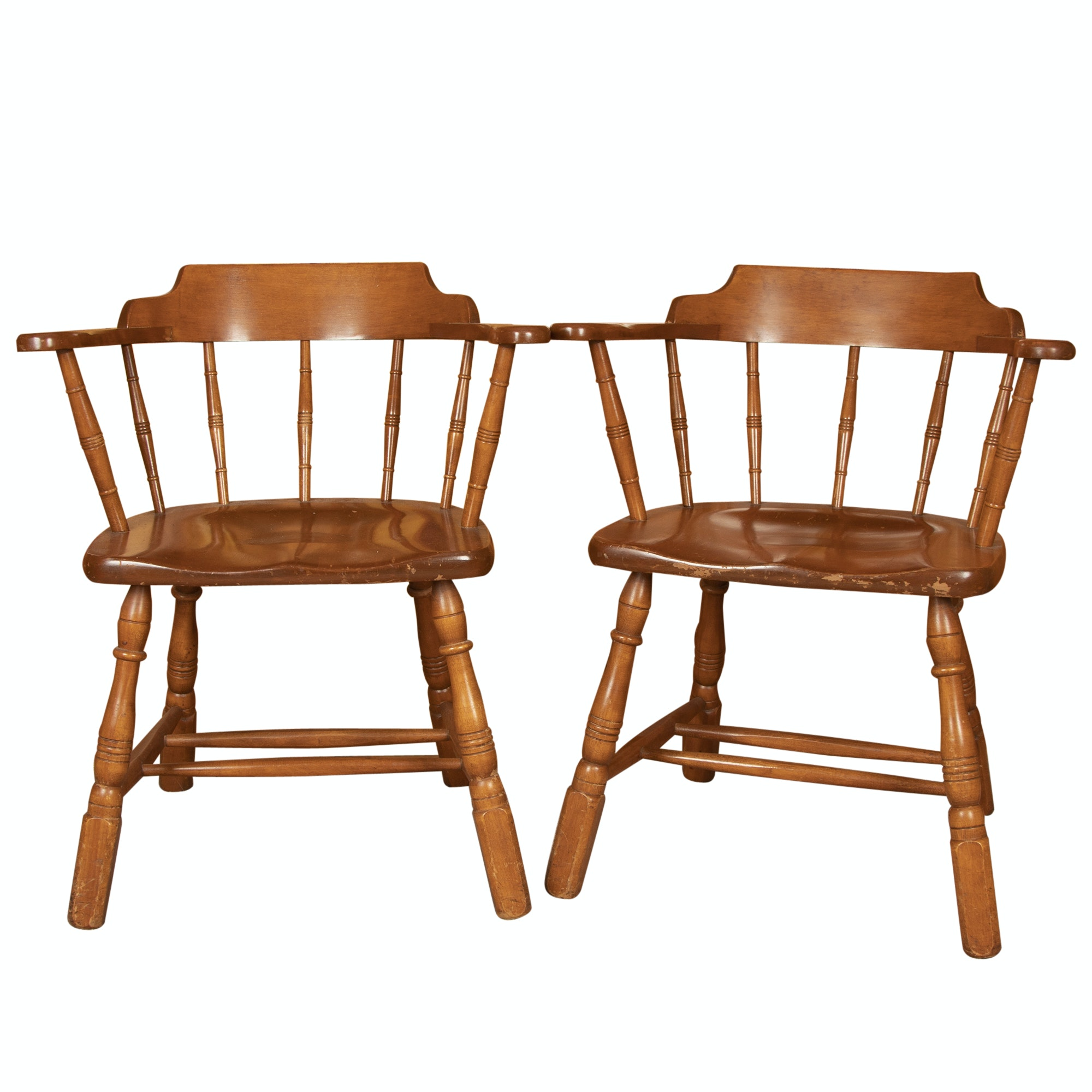 """Pair of Maple """"Duxbury"""" Armchairs by Temple Stuart, Late 20th Century"""