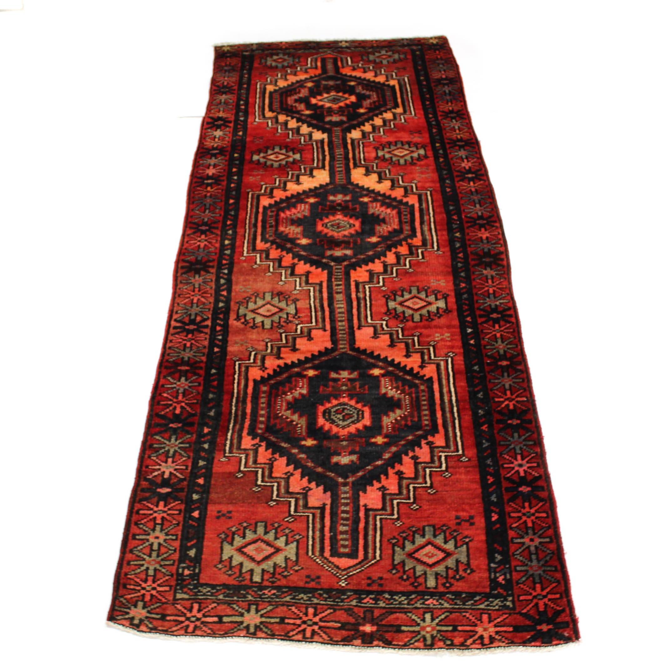 3'8 x 10' Semi-Antique Hand-Knotted Persian Zanjan Carpet Runner