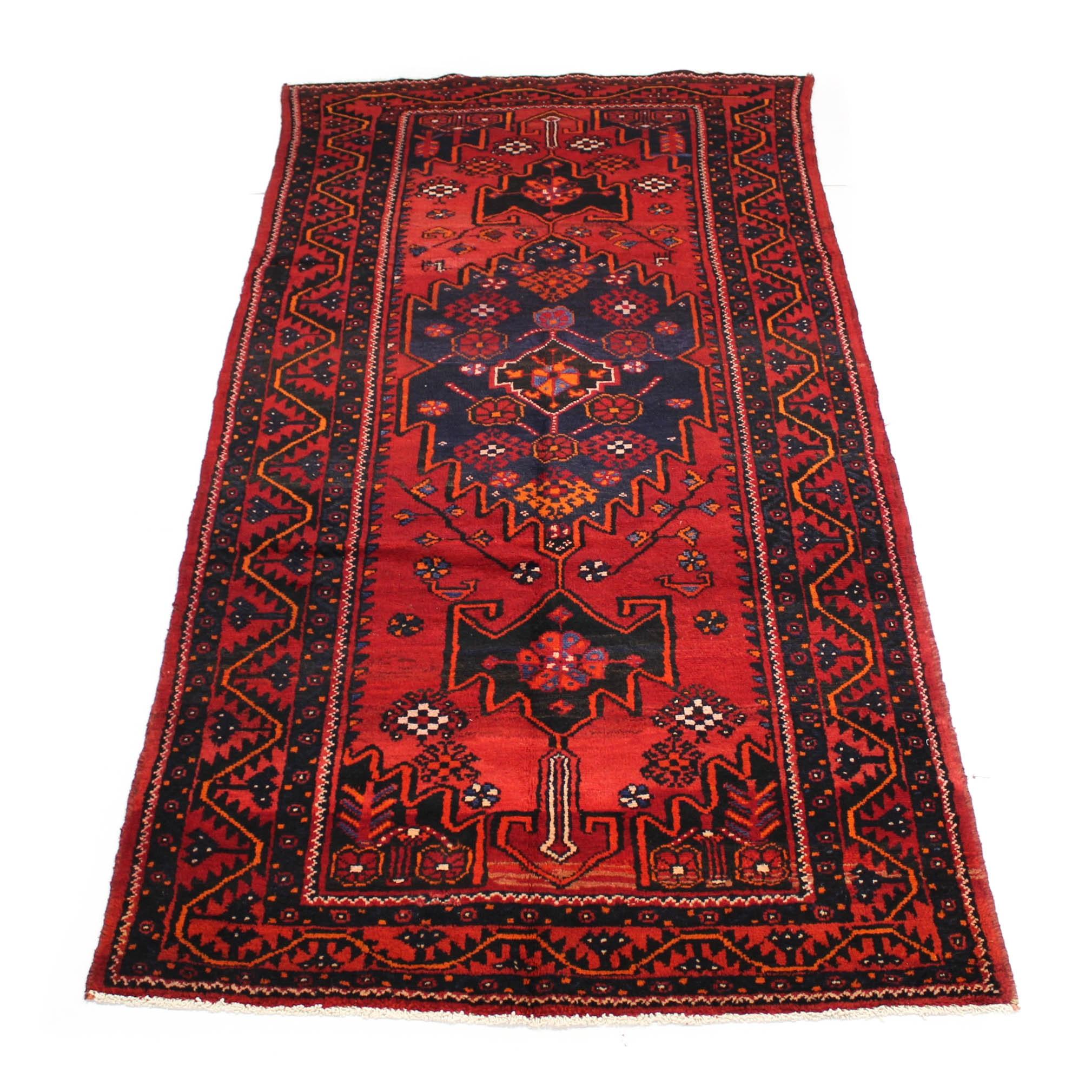4'5 x 9'2 Semi-Antique Hand-Knotted Persian Zanjan Carpet Runner
