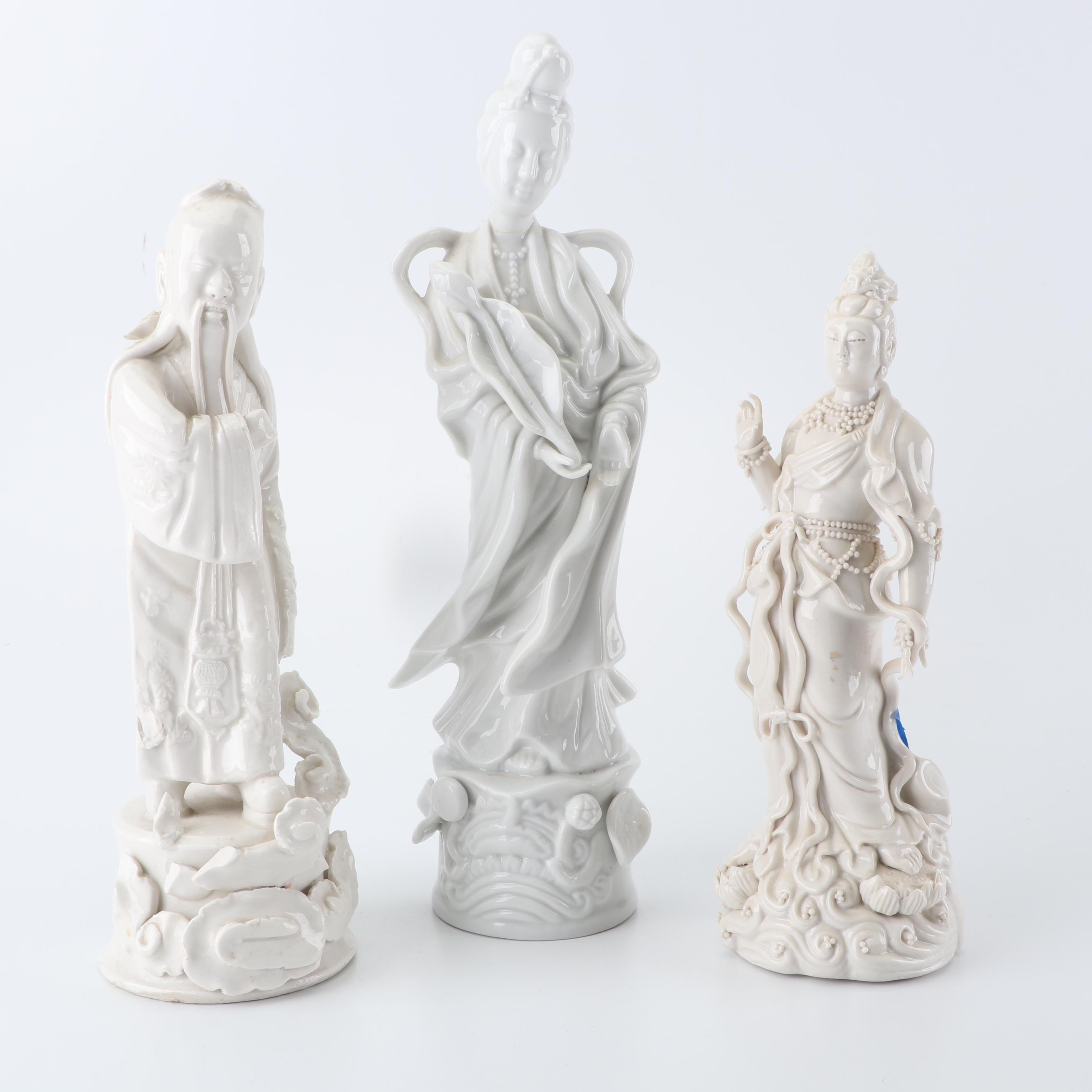 Blanc de Chine Porcelain Figurines Featuring Homco
