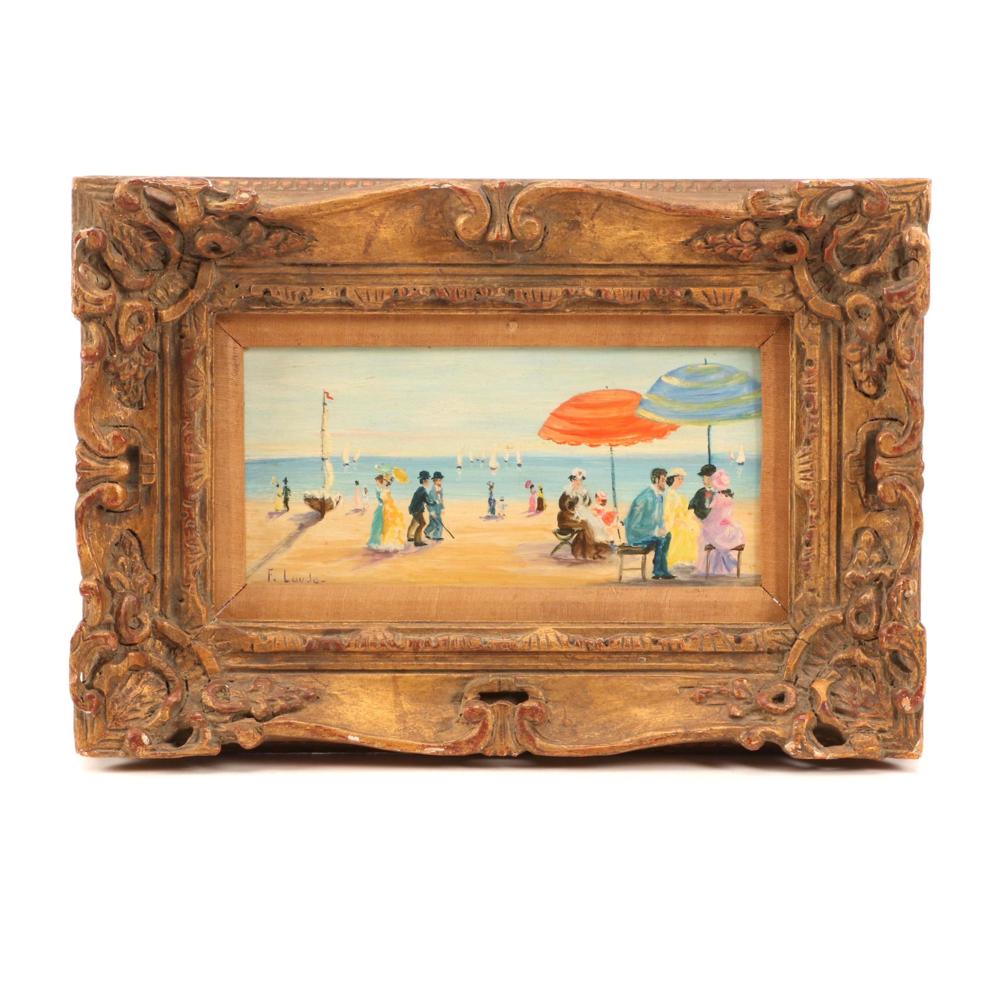 F. Laude Oil Painting of Victorian Beach Scene