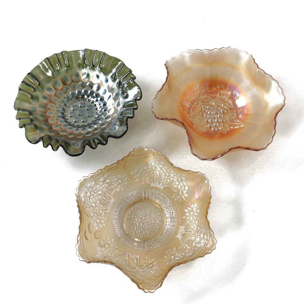 Vintage Carnival Glass Bowls Including Fenton
