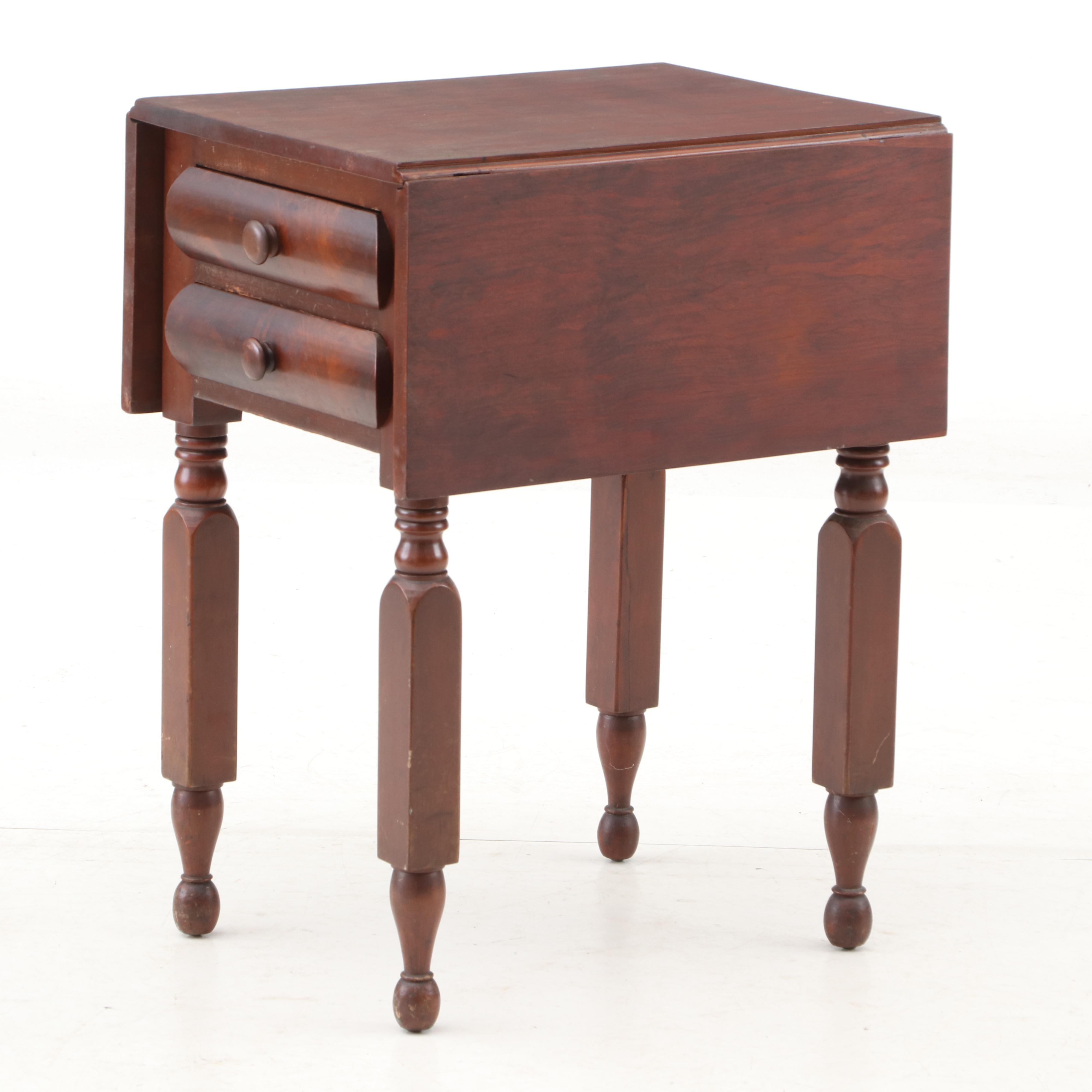 Walnut Drop Leaf Side Sewing Table, Circa 1860