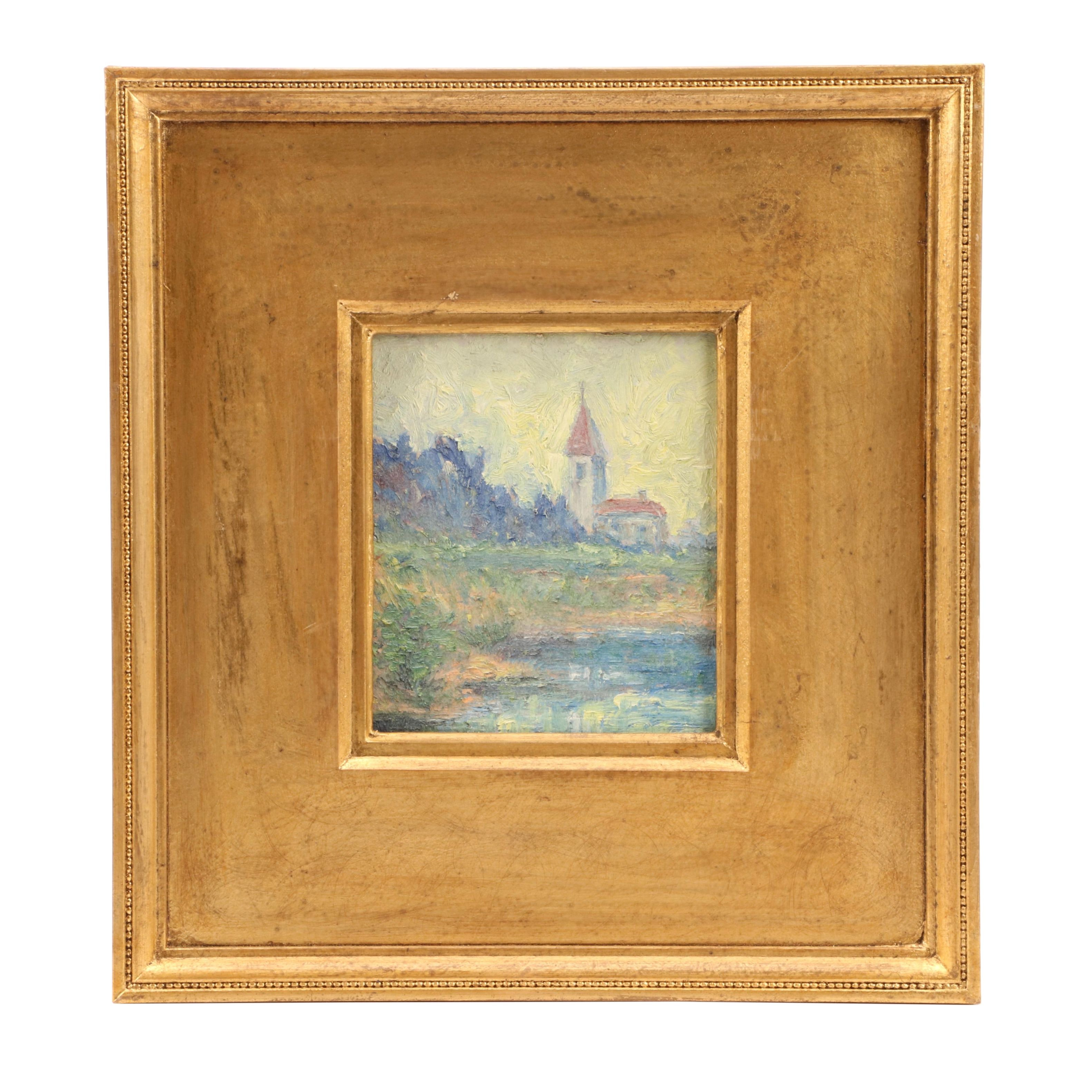 Impressionist Style Oil Painting of Landscape with Church