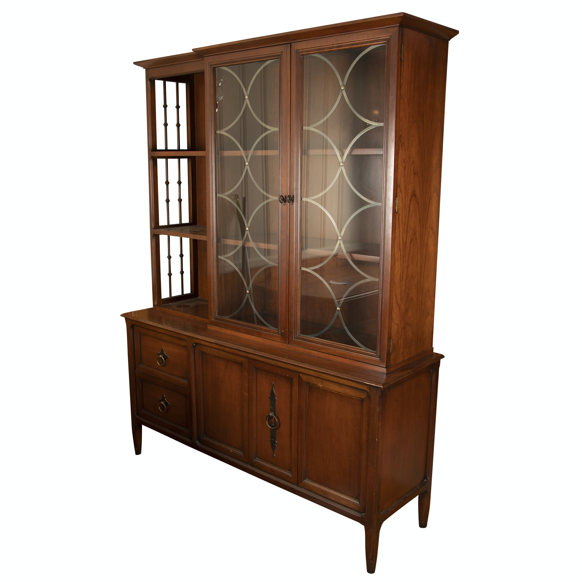 Mediterranean Style Walnut China Cabinet by Century, Mid 20th Century