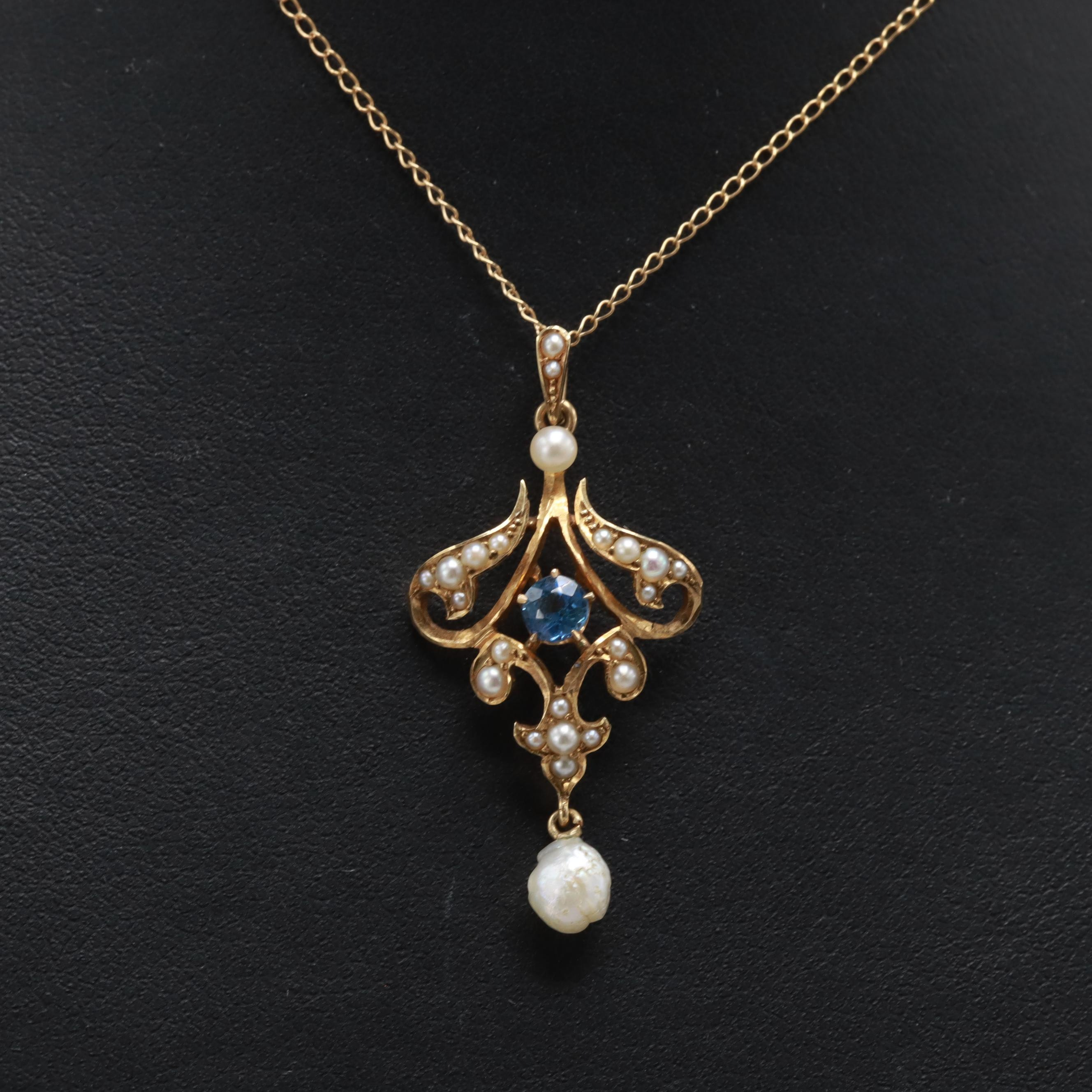 Victorian 14K Yellow Gold Blue Sapphire and Cultured Pearl Lavalier Necklace