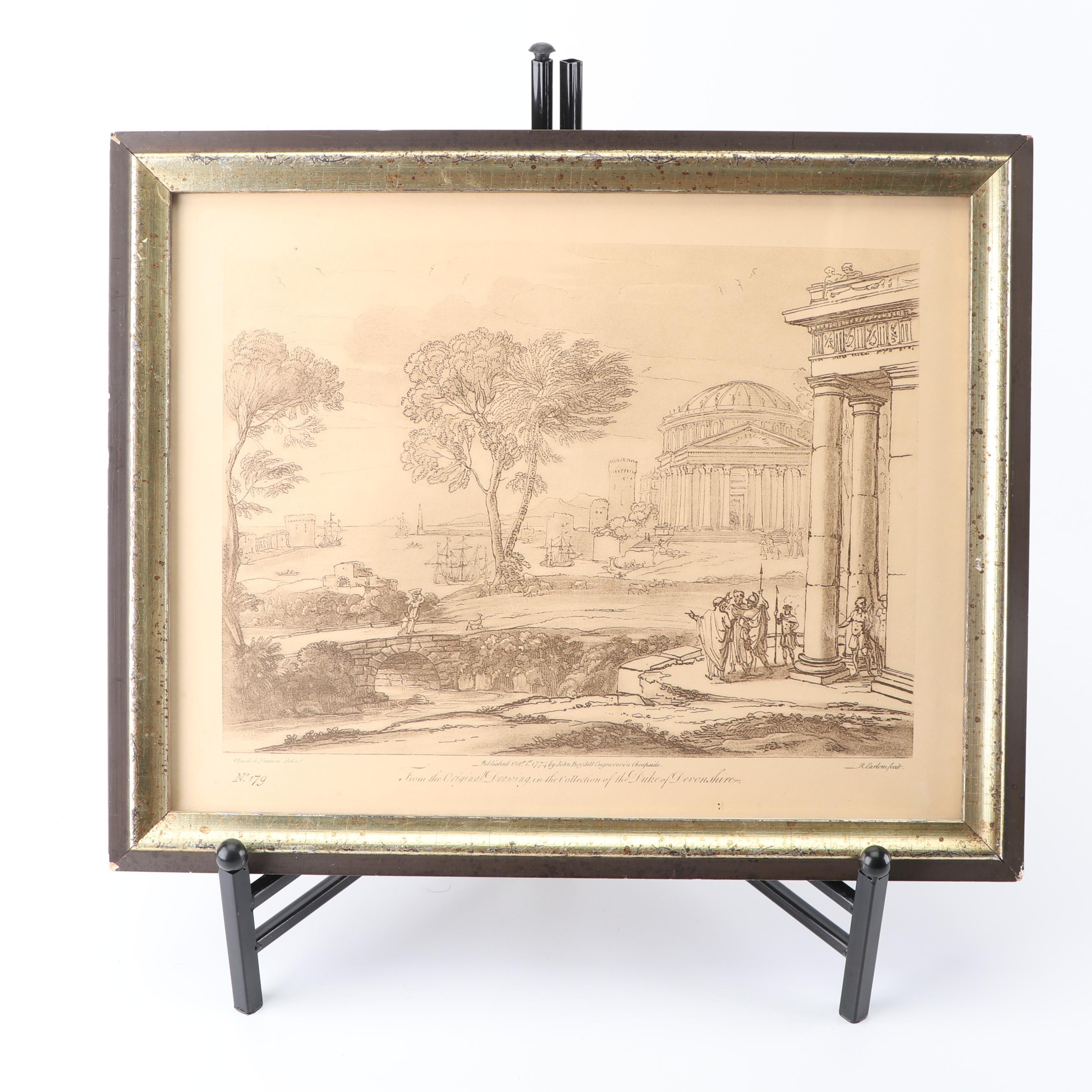 Lithograph of Classical Landscape after Claude Lorrain Drawing