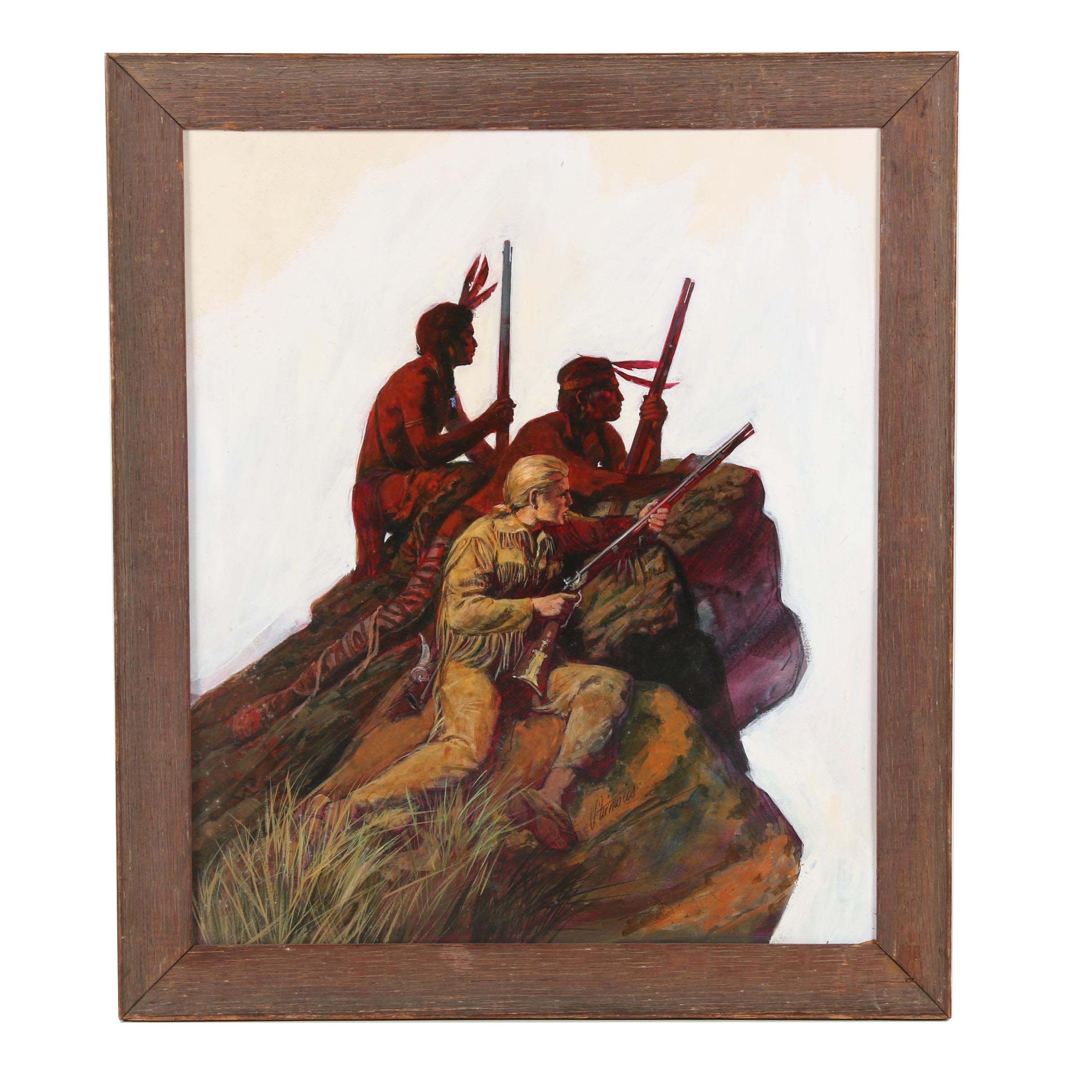 """Shannon Stirnweis Mixed Media Western Illustration """"Frontier Scouting Party"""""""