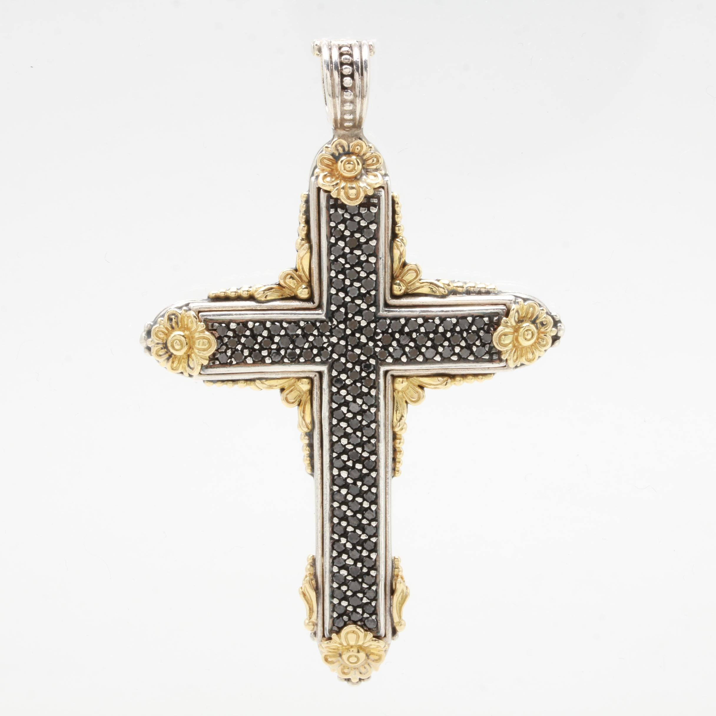 Konstantino Sterling Silver and 18K Gold 1.75 CTW Black Diamond Cross Pendant