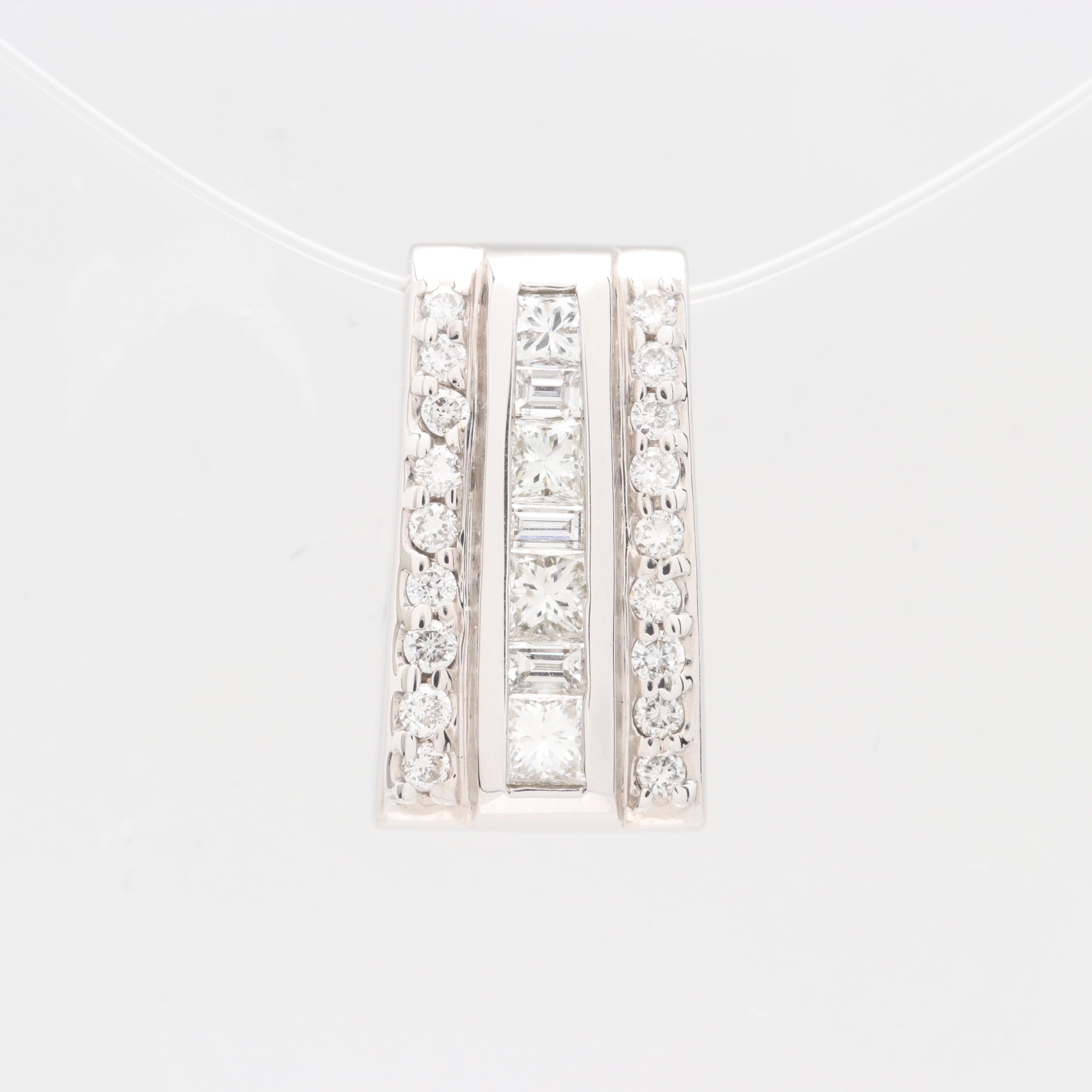 14K White Gold Diamond Slide Pendant