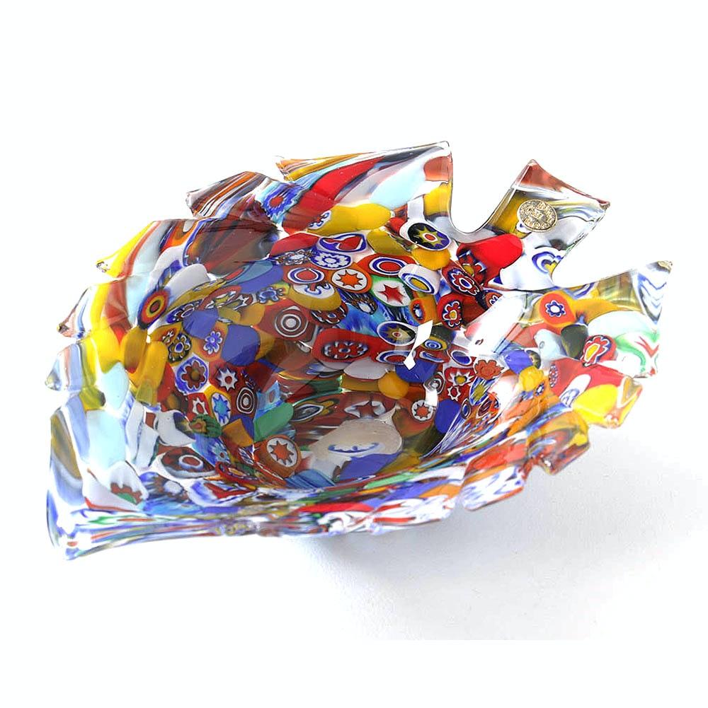 Baccerini Millefiori Art Glass Leaf Shaped Bowl