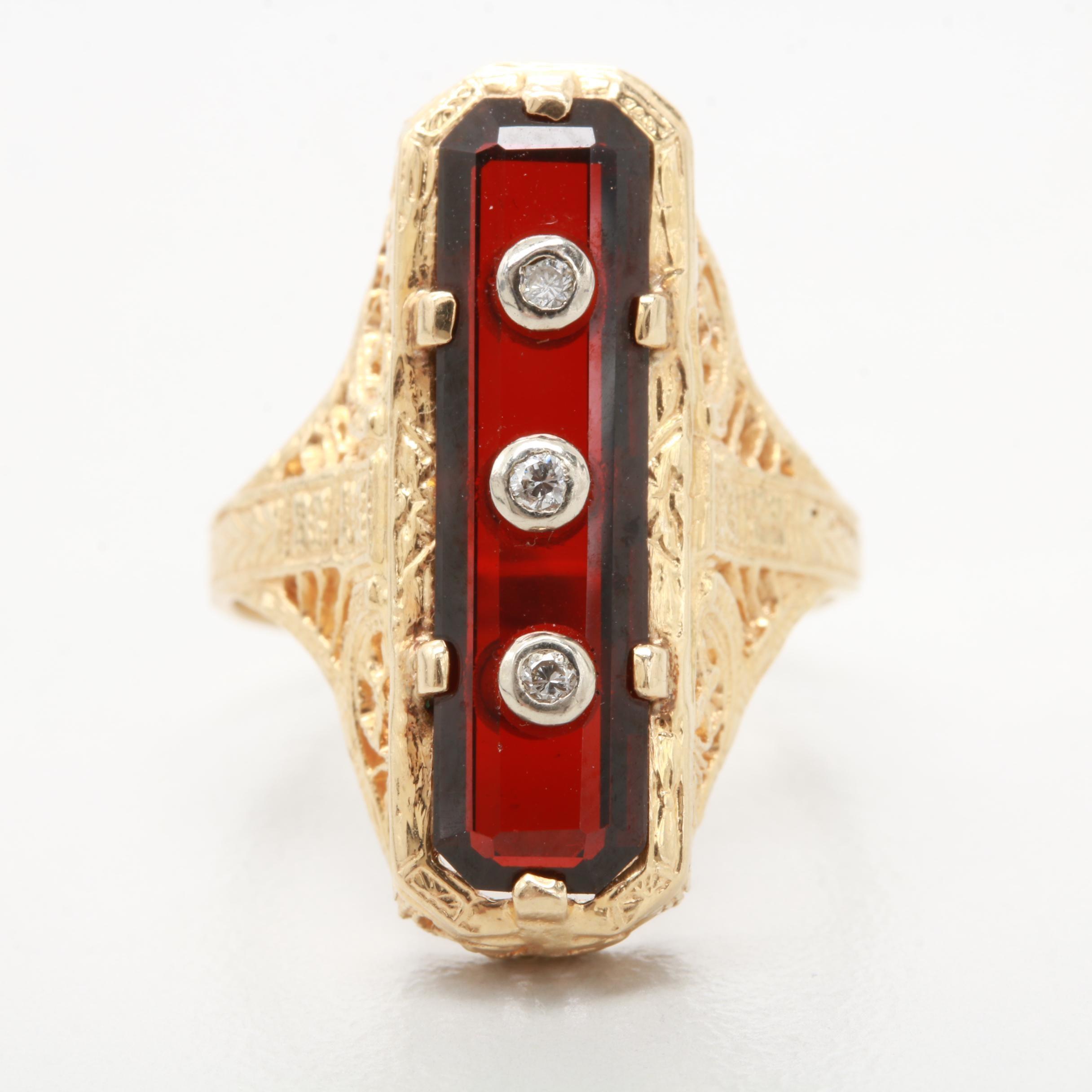 Art Deco 14K Yellow Gold Diamond and Garnet Ring
