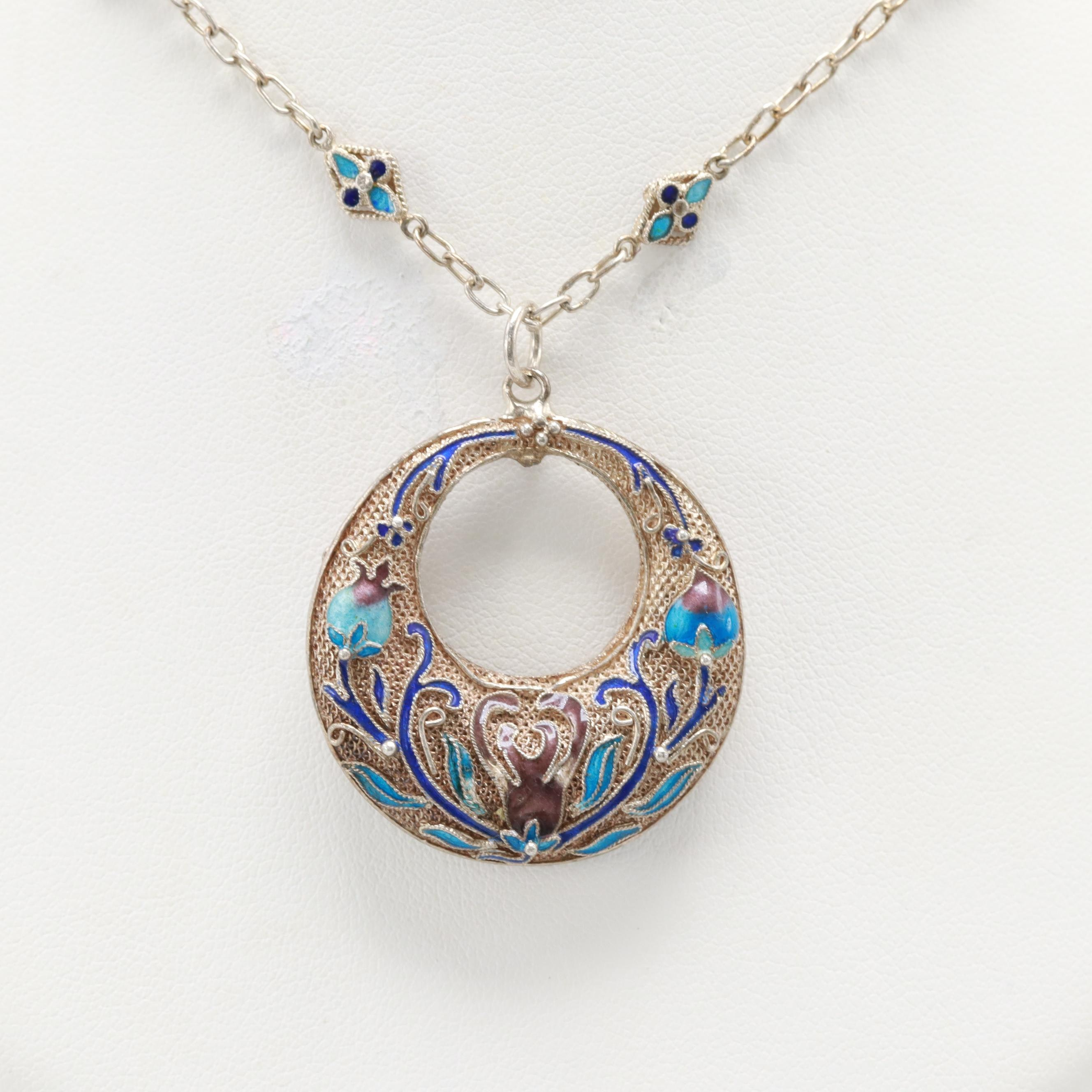 Vintage Cloisonné and Sterling Silver Filigree Pendant Necklace