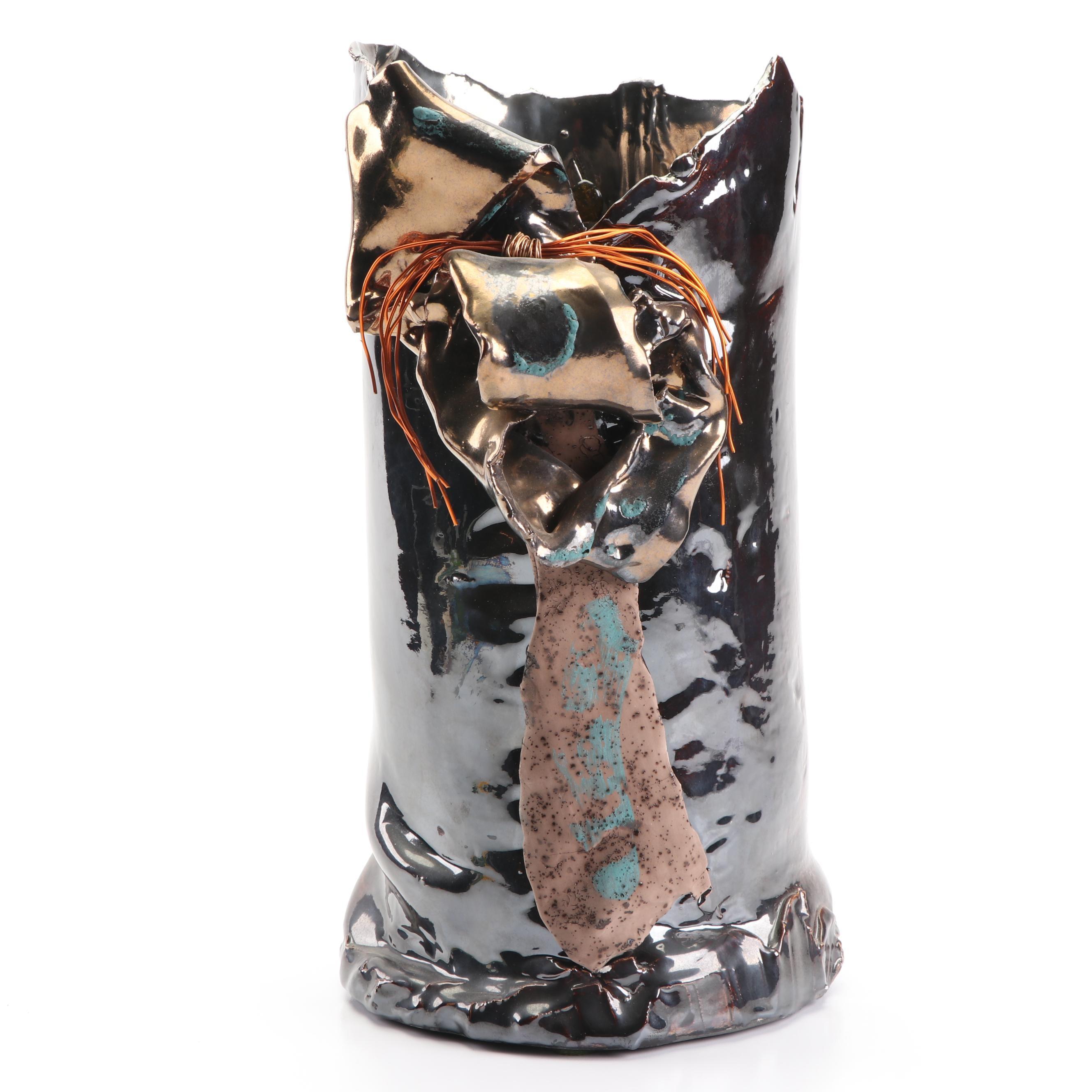 Signed Handbuilt Stoneware Sculptural Vase with Copper Luster Glaze