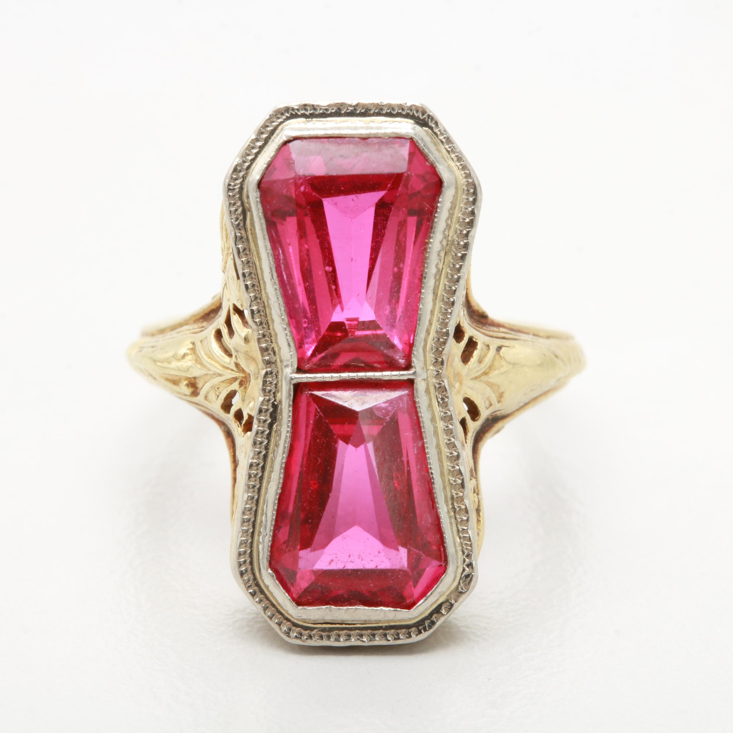 Art Deco 14K Yellow Gold Synthetic Ruby Ring