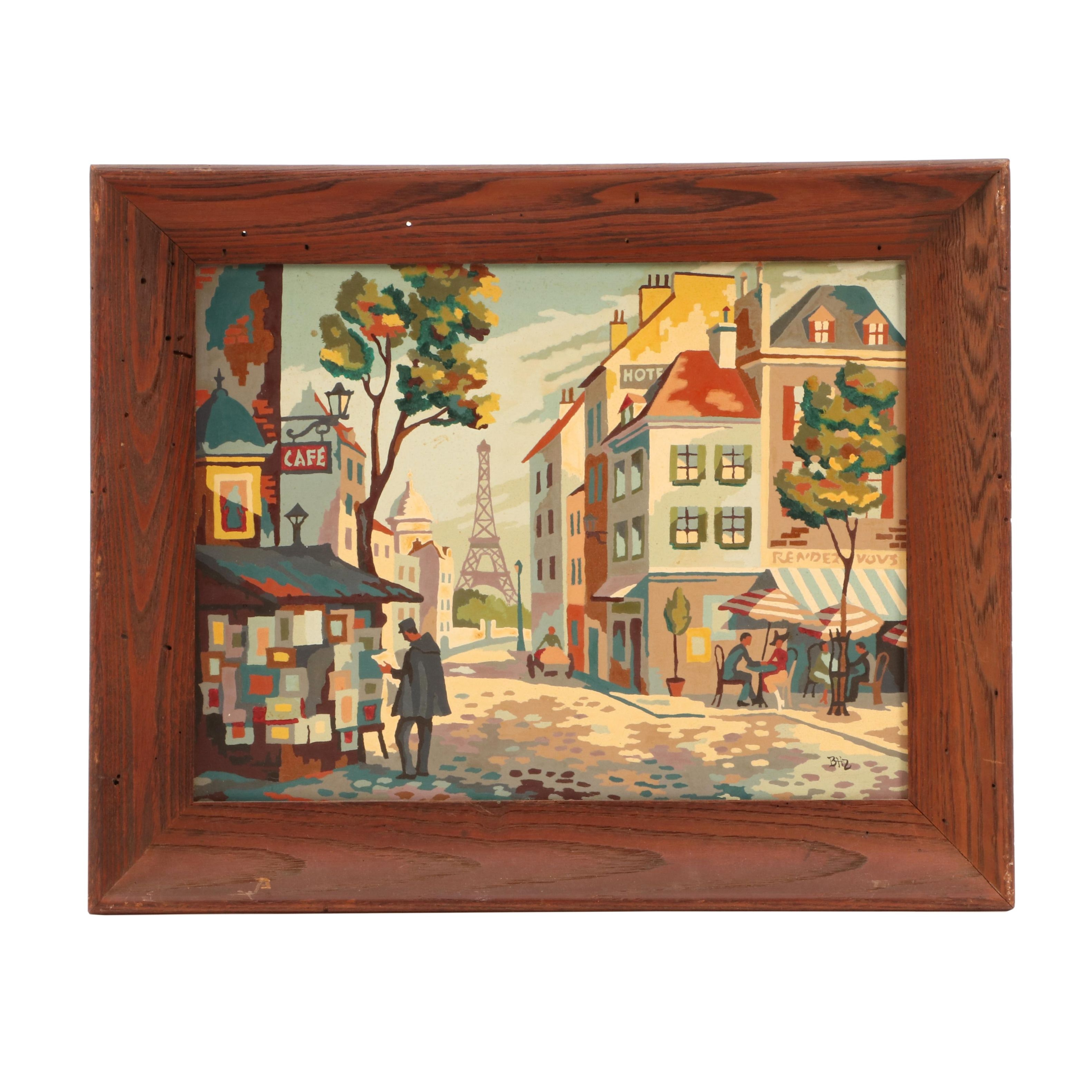 Mid-Century Parisian Street Scene Paint-by-Number Style Serigraph