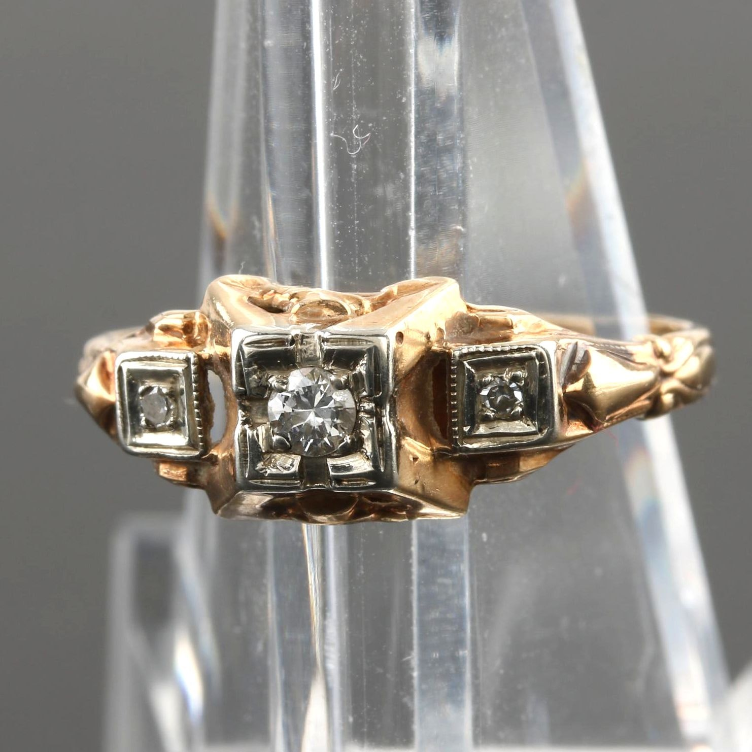 Late Edwardian Isador S. Sagorsky & Son 14K Yellow and White Gold Diamond Ring