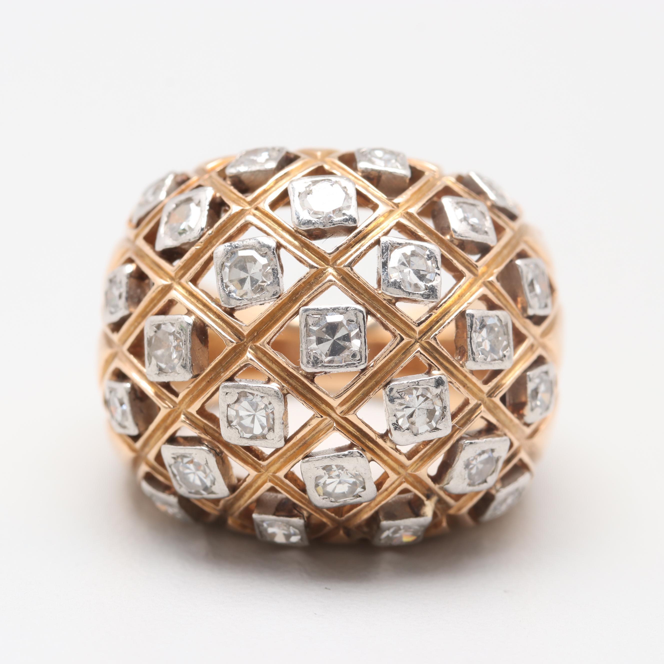 18K Yellow Gold 0.95 CTW Diamond Dome Ring