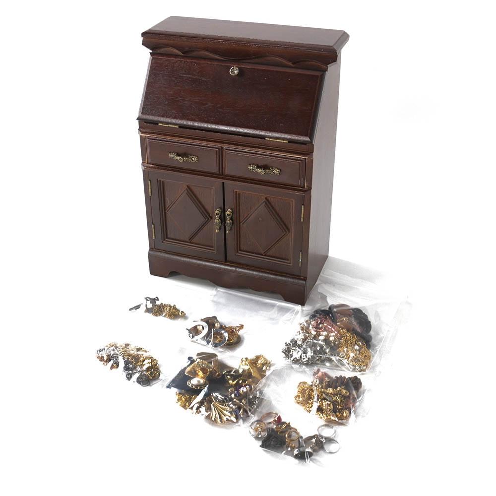 Costume Jewelry In Wooden Jewelry Box