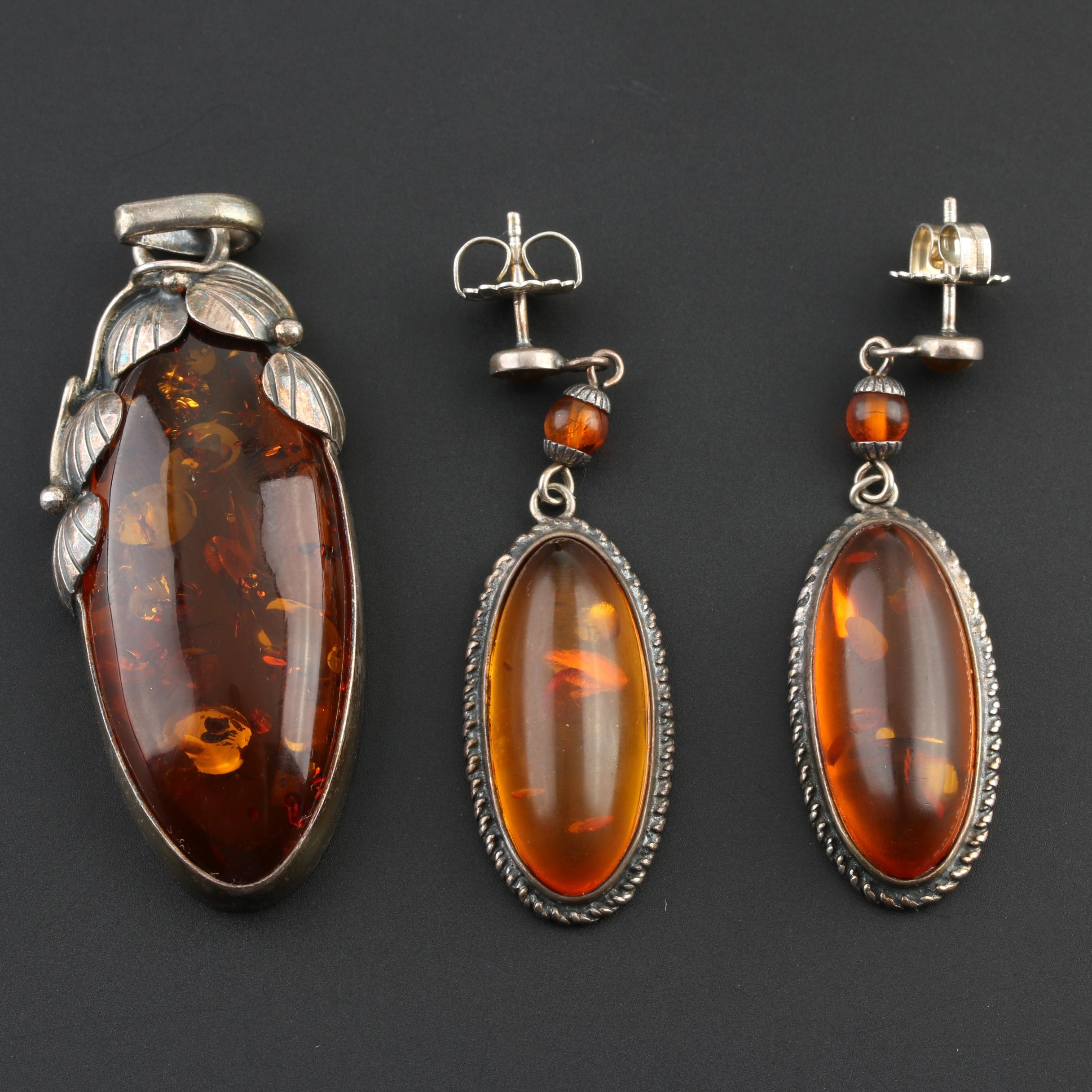 Arts & Crafts Style Ivy Leaf Sterling Silver Amber Pendant and Drop Earring Set