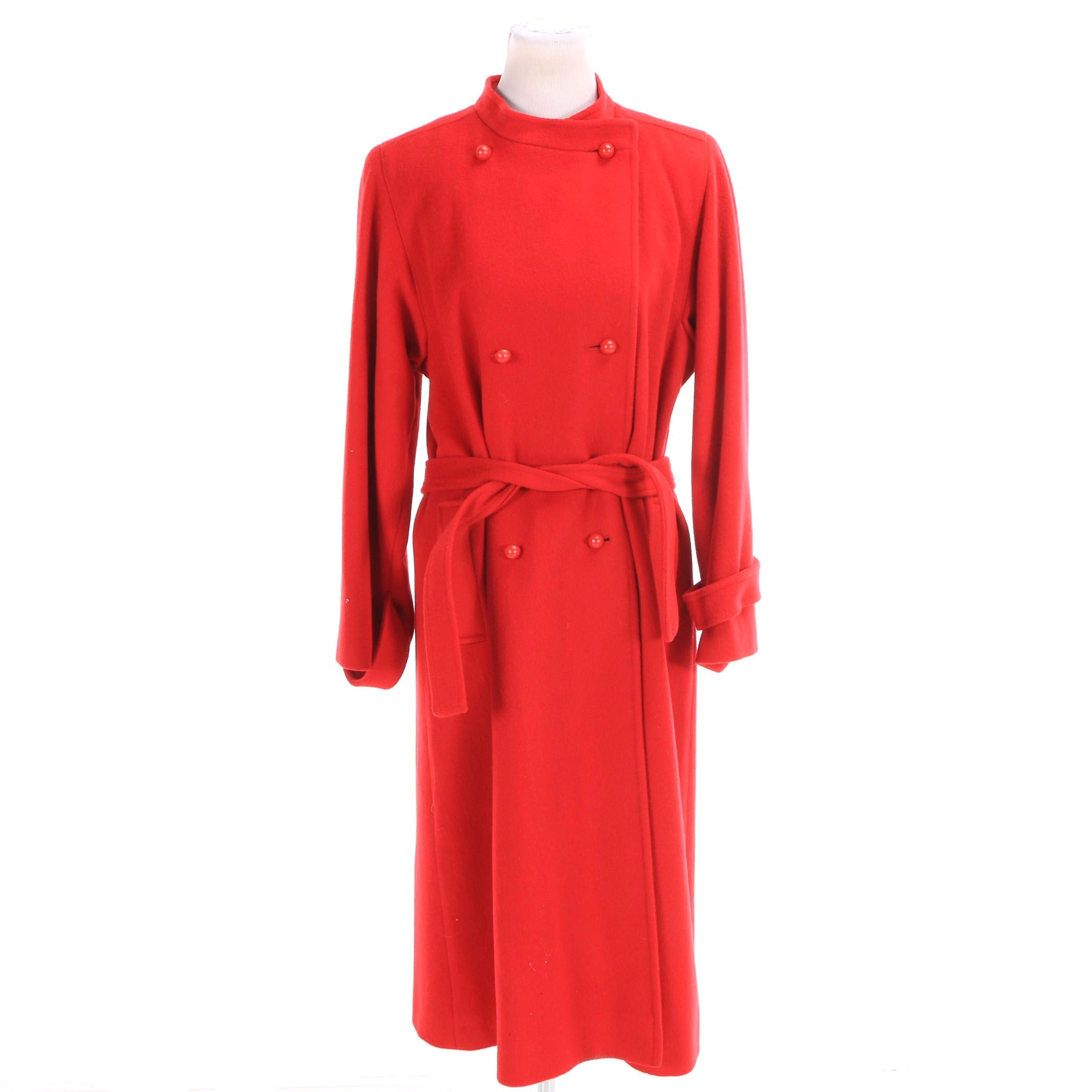 Women's Vintage Mr. Fred Double-Breasted Red Wool Coat