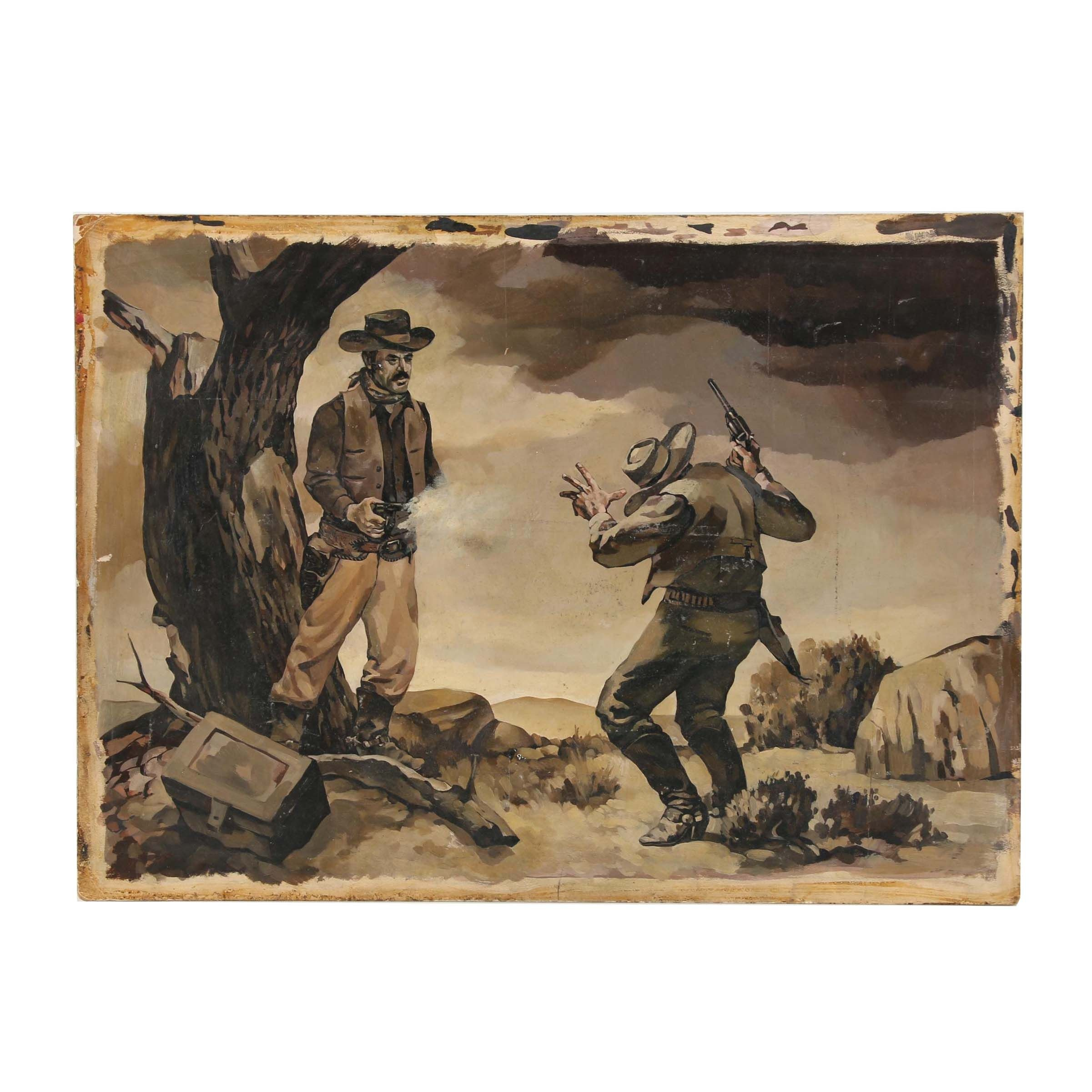 Mid 20th Century Oil Illustration of Western Scene