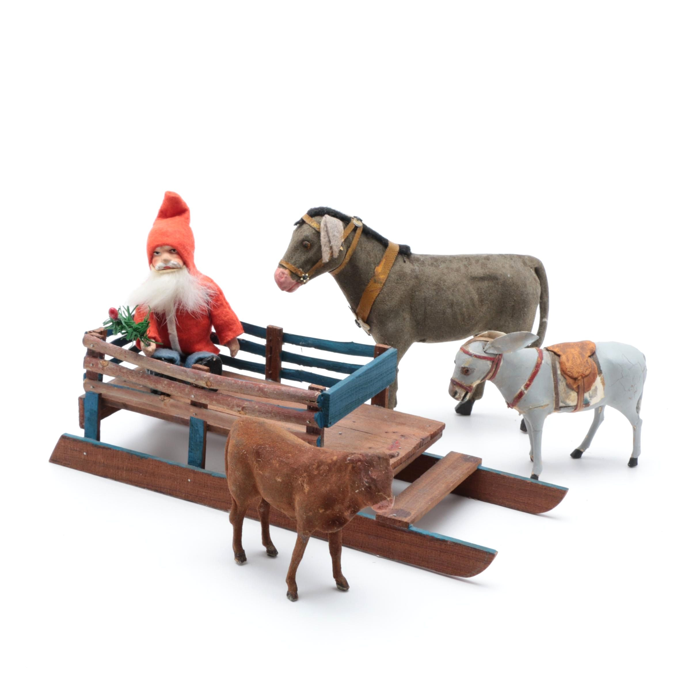 Antique Papier-Mâché Creche Animals and Belsnickle in a Wooden Sled