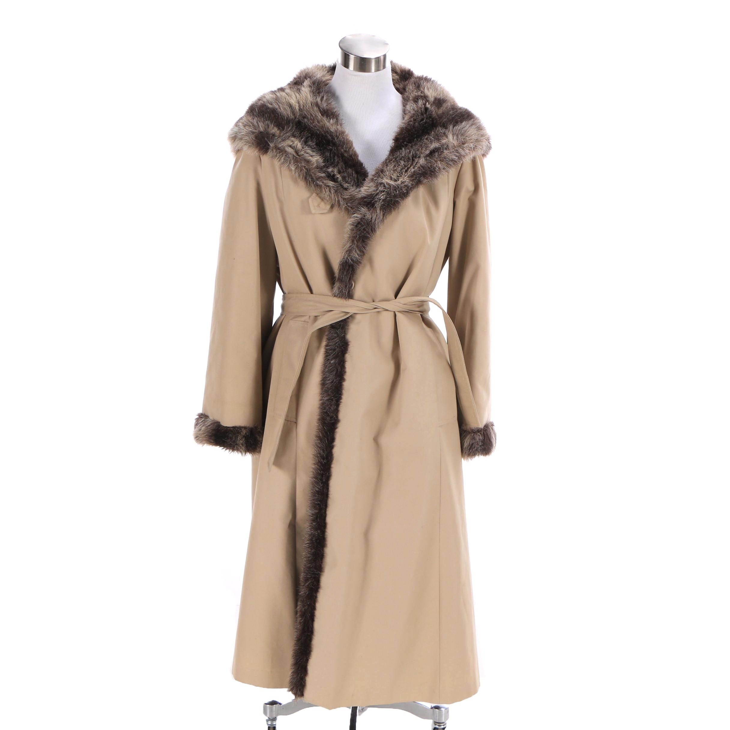Women's Vintage Forecaster of Boston Faux Fur Lined Coat
