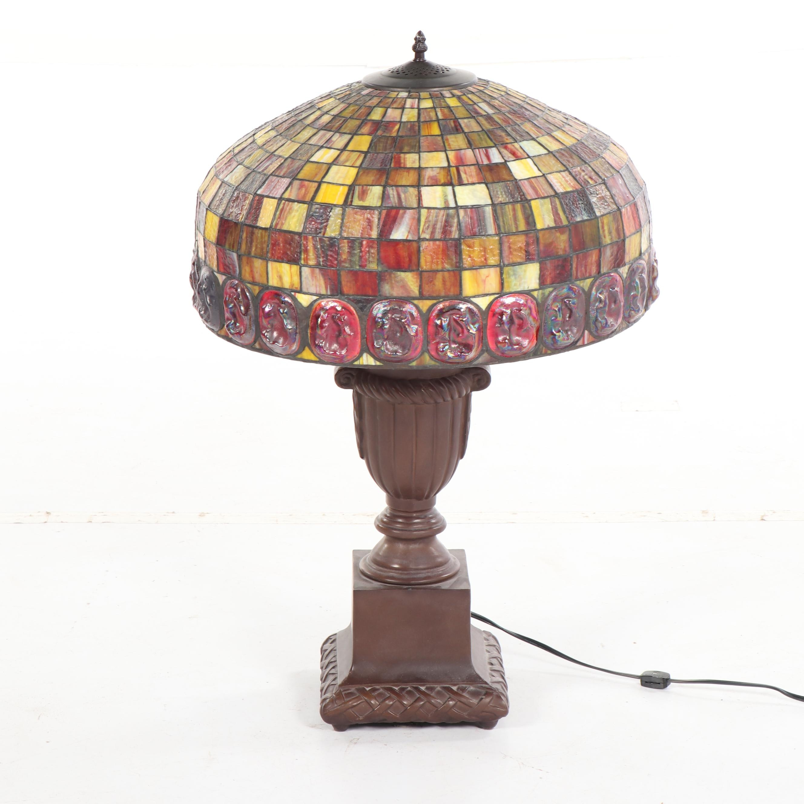 Grid and Coin Spot Motif Stained Glass Table Lamp with Trophy Style Base