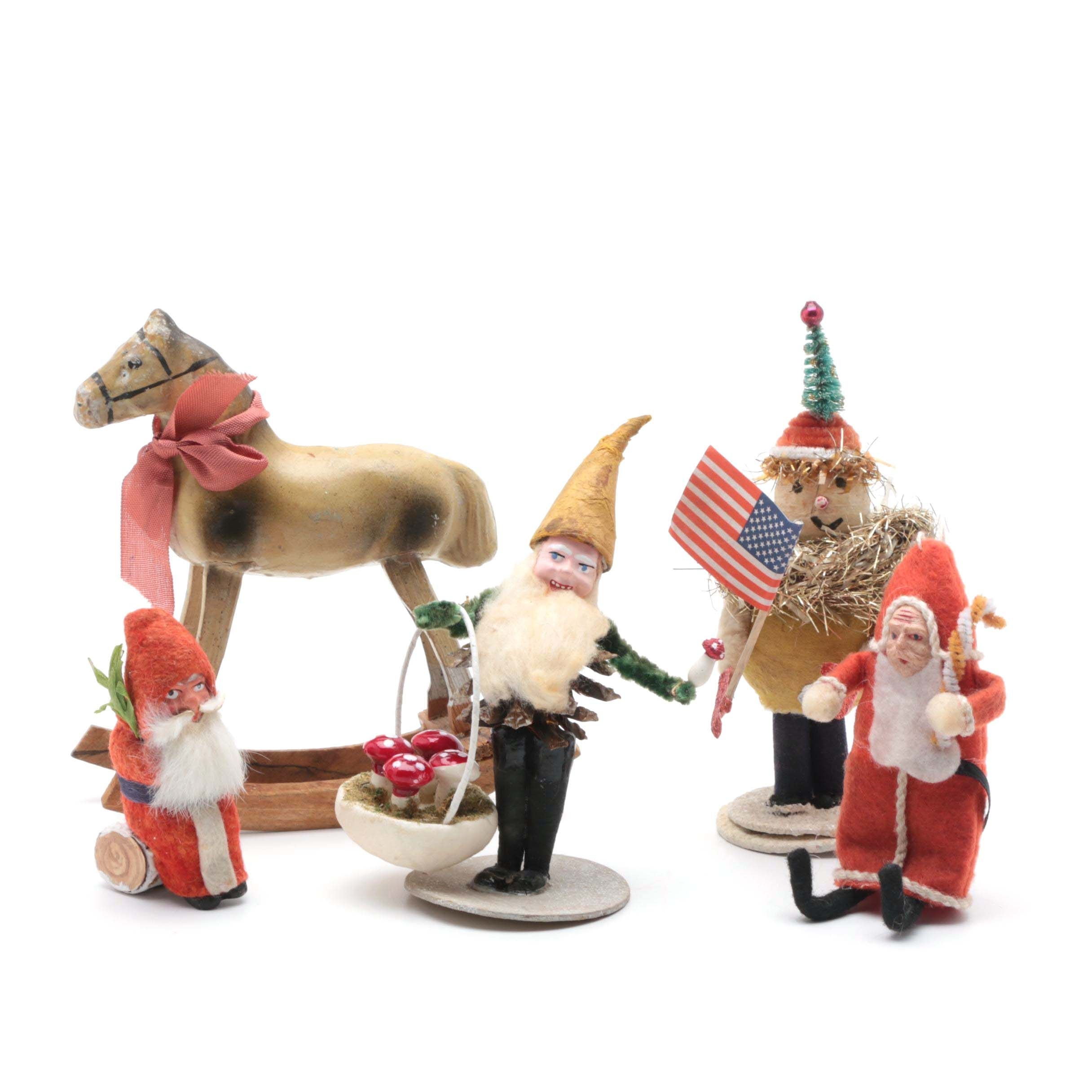 Five Vintage Christmas Figurines