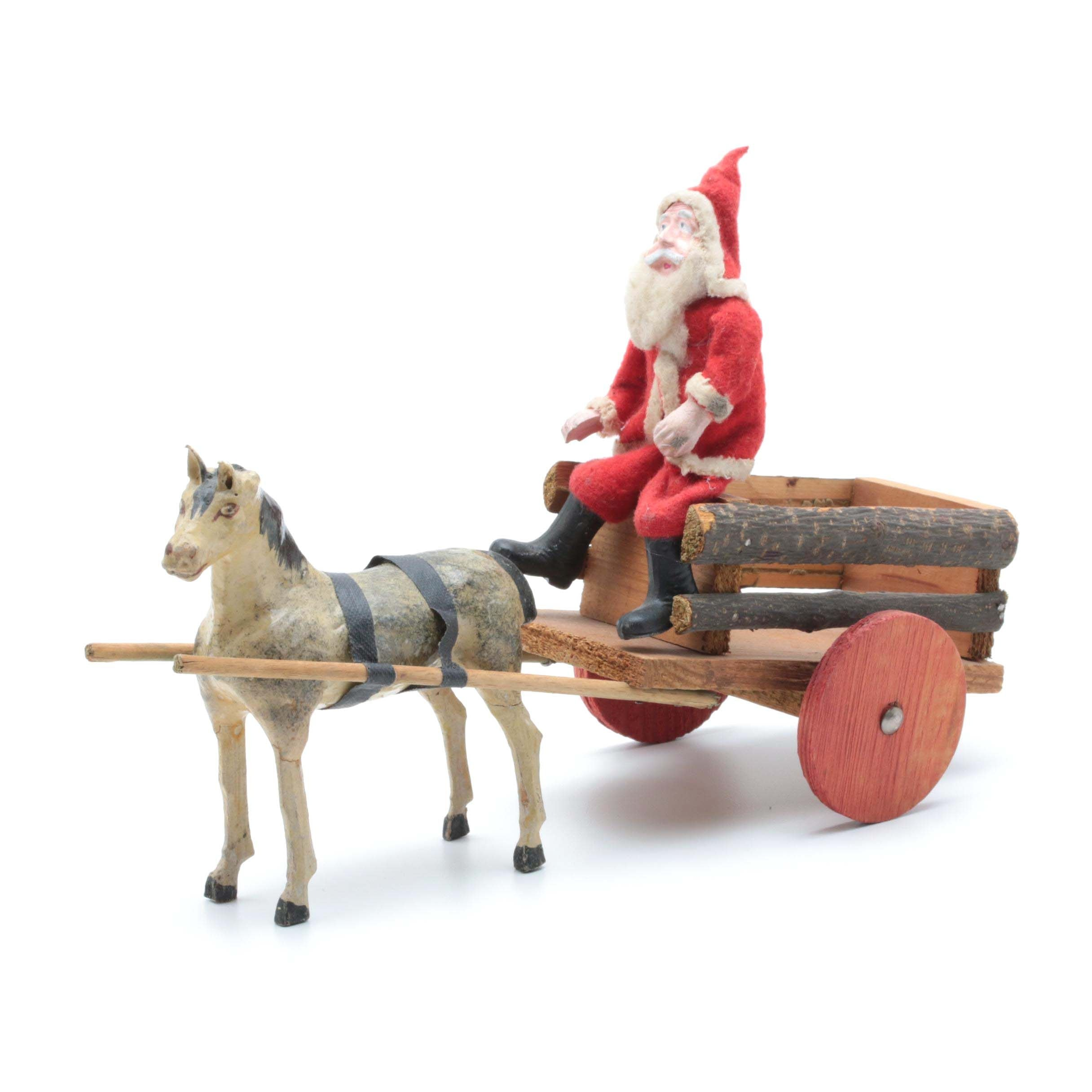 Vintage German Papier-Mâché Toy Horse and Wagon with St. Nick