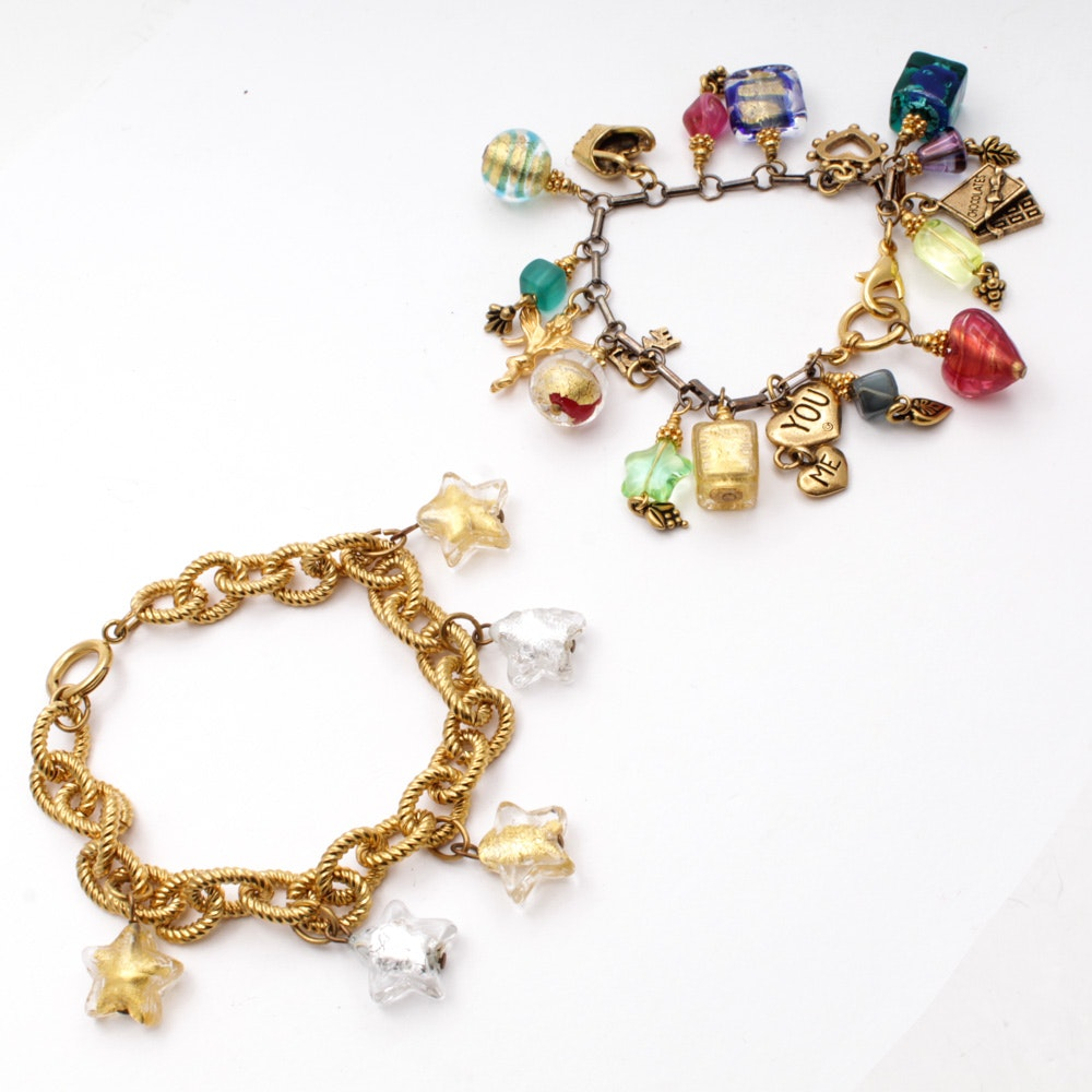 Blown Glass Murano Style Charm Bracelets Made in Italy