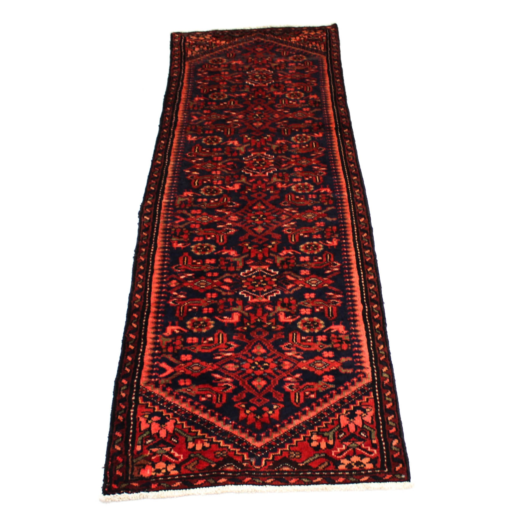 2'9 x 9' Semi-Antique Hand-Knotted Persian Mahal Pictorial Carpet Runner