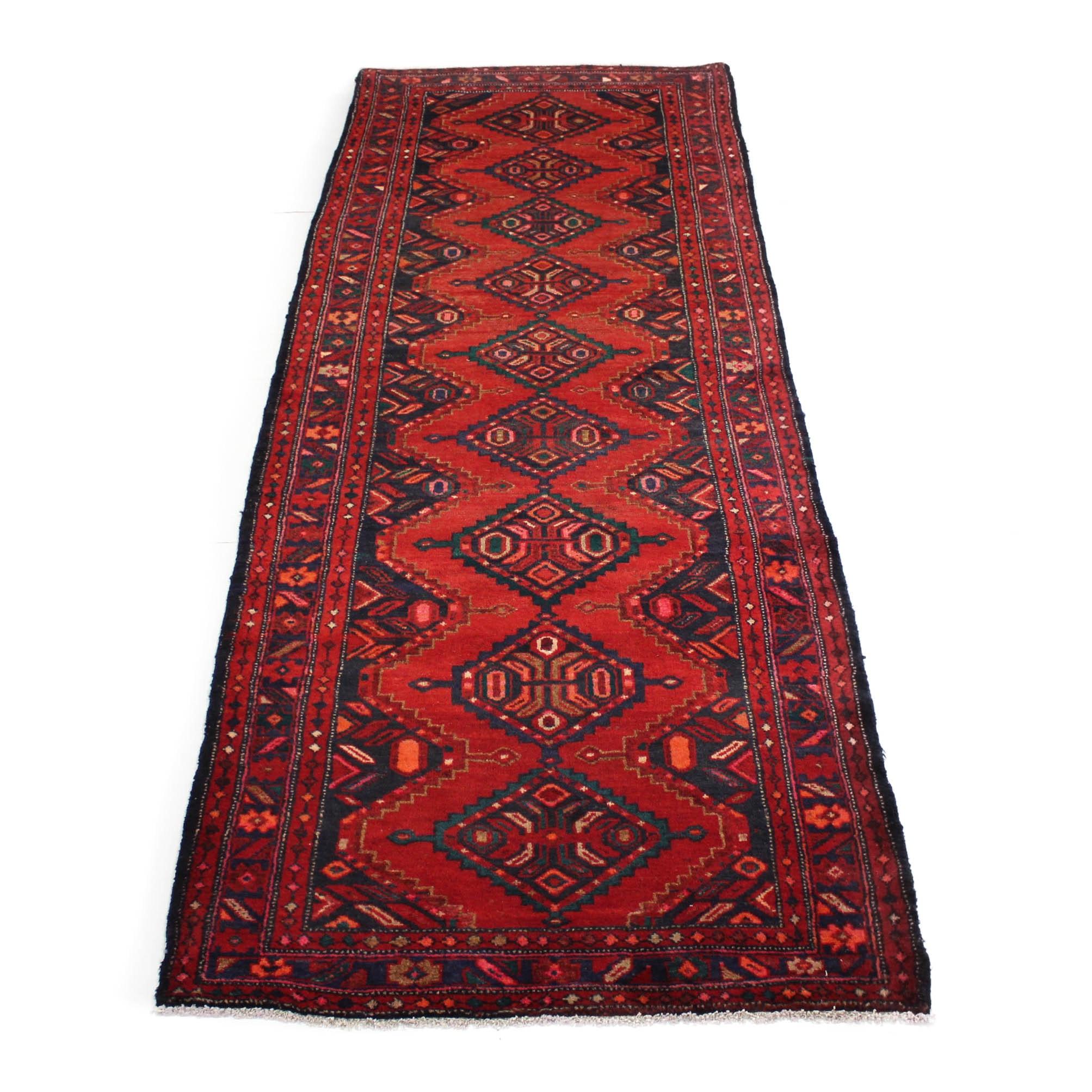 3'7 x 10' Semi-Antique Hand-Knotted Northwest Persian Chenar Carpet Runner