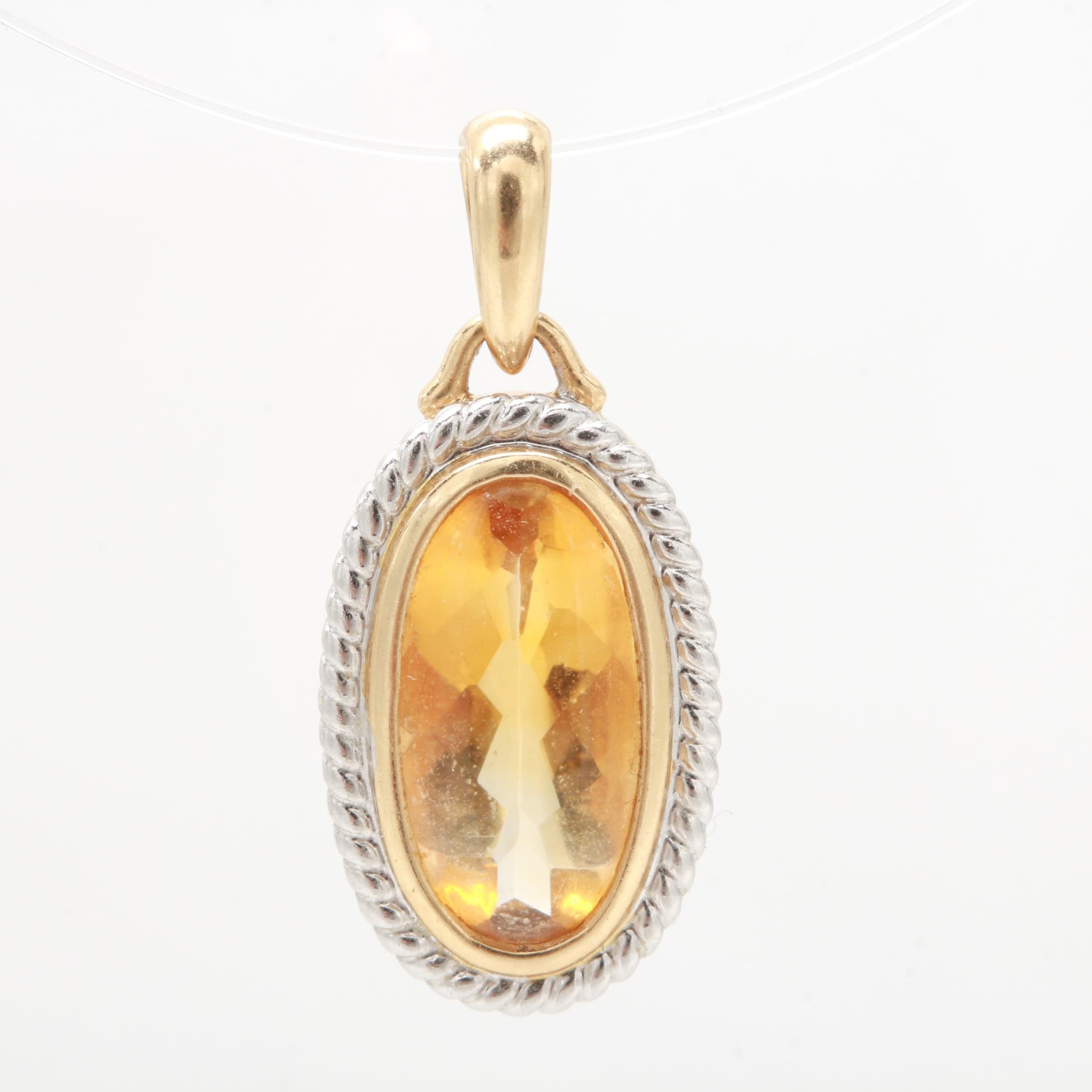 14K Yellow Gold Citrine Pendant with White Gold Accent