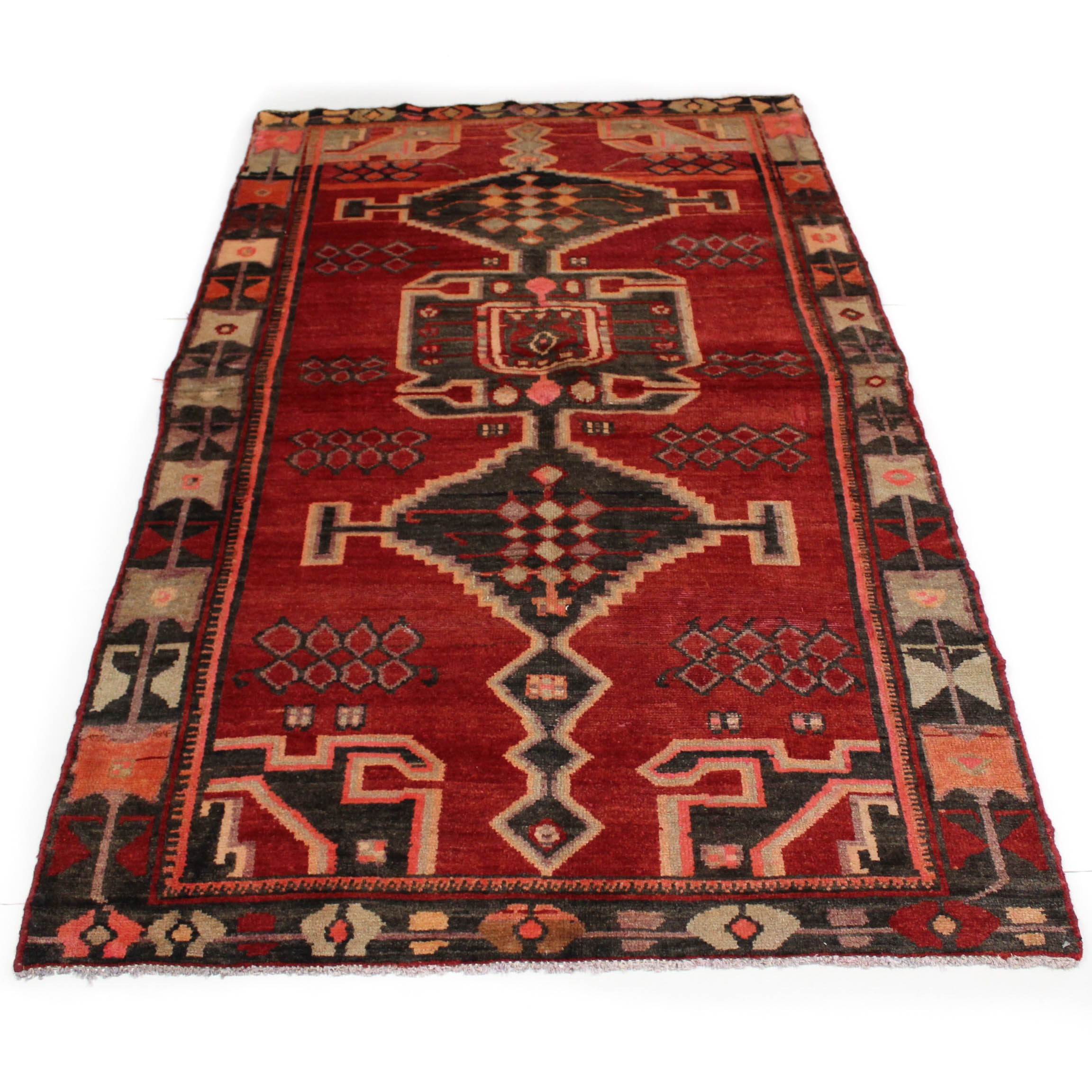 4'1 x 7'1 Semi-Antique Hand-Knotted Persian Northwest Rug