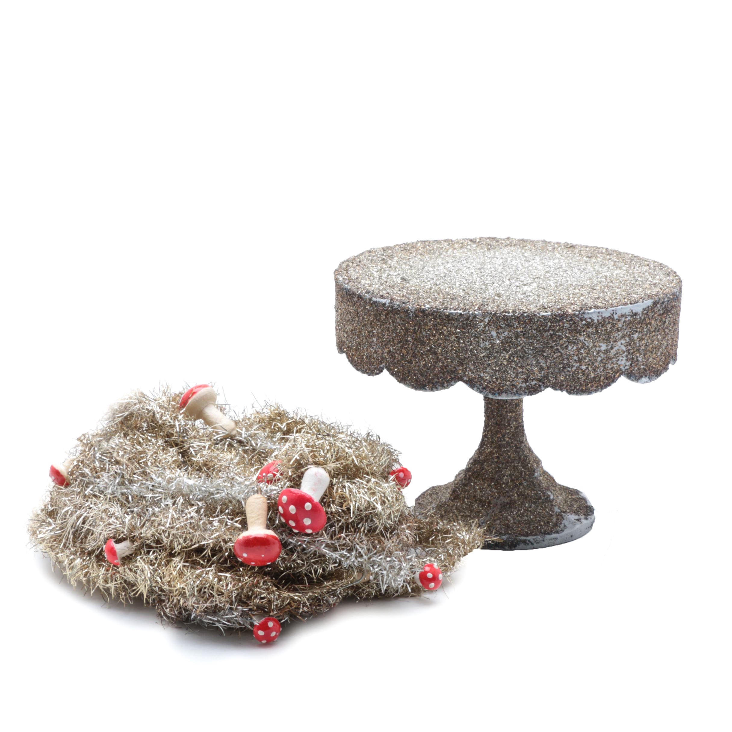 Vintage Gold and Silver Tinsel Embellished with Toad Stools and Display Stand