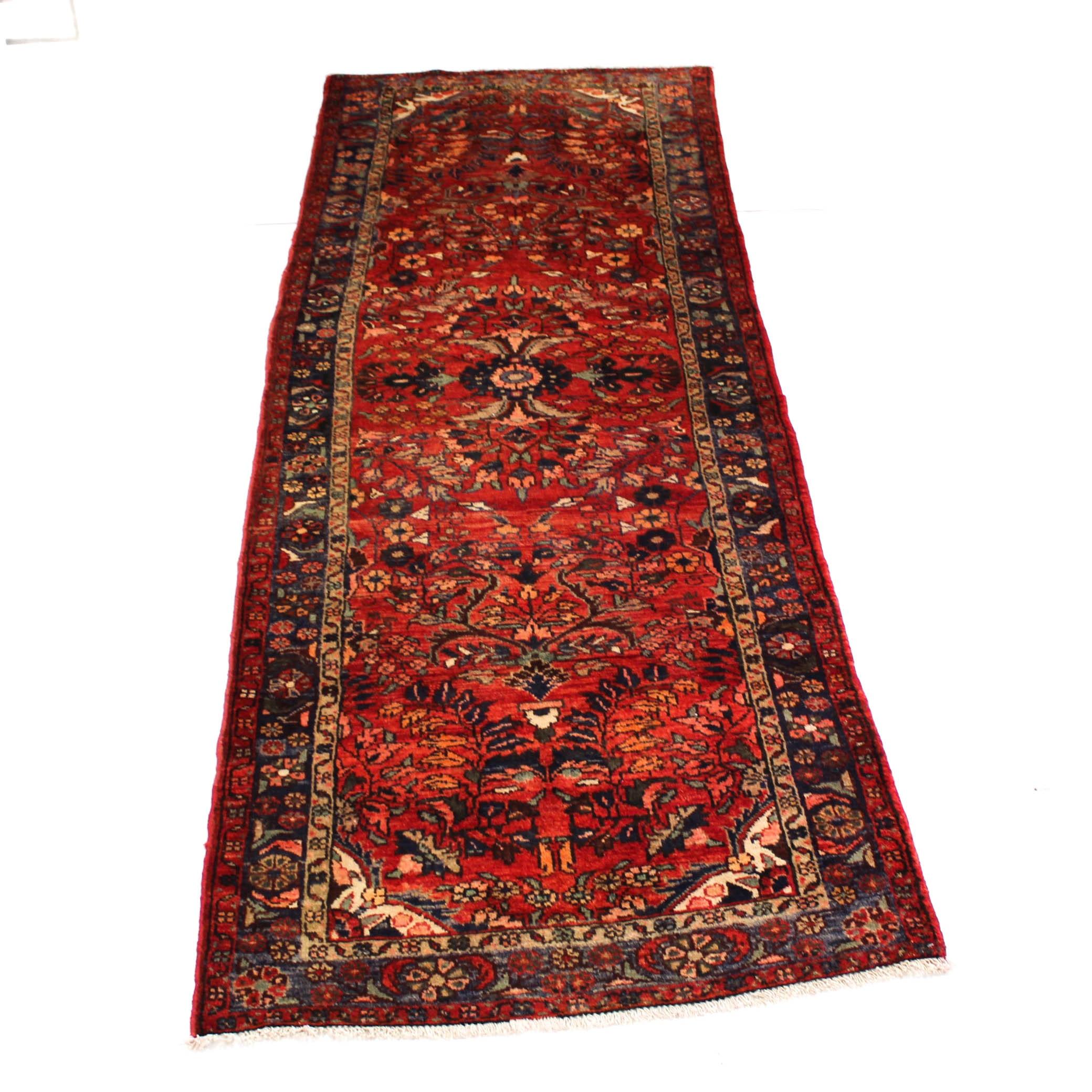3'6 x 9'9 Semi-Antique Hand-Knotted Persian Lilihan Carpet Runner