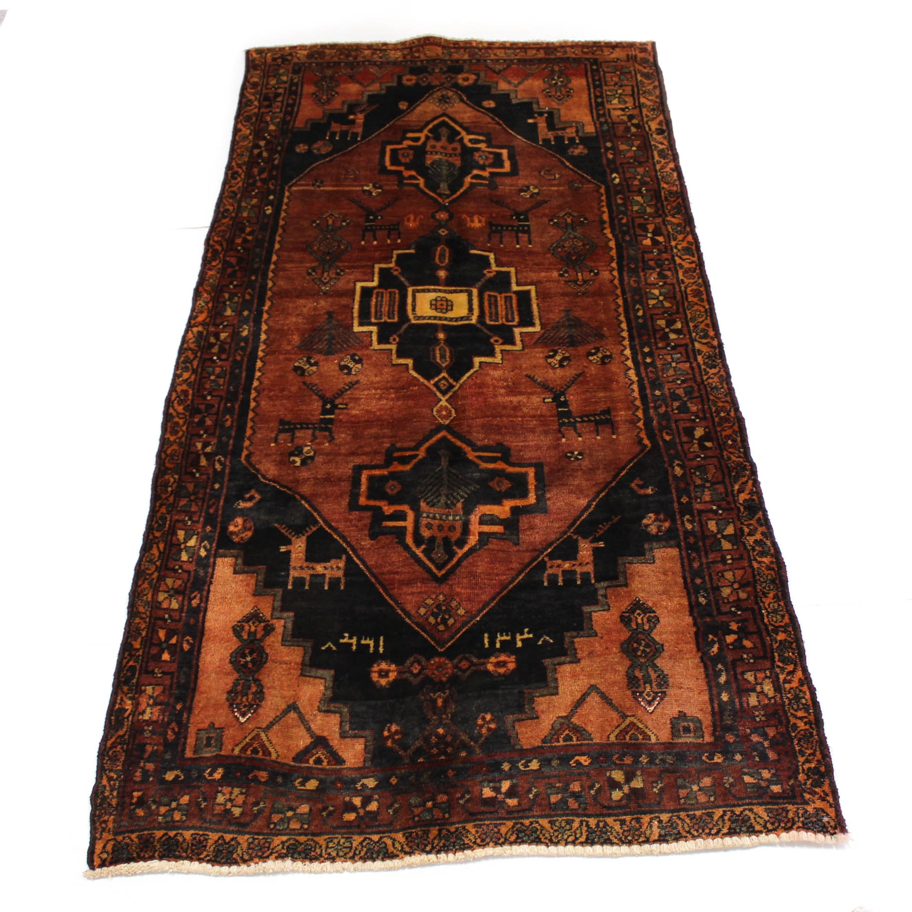 3'7 x 8'2 Hand-Knotted Semi-Antique Persian Northwest Pictorial Rug