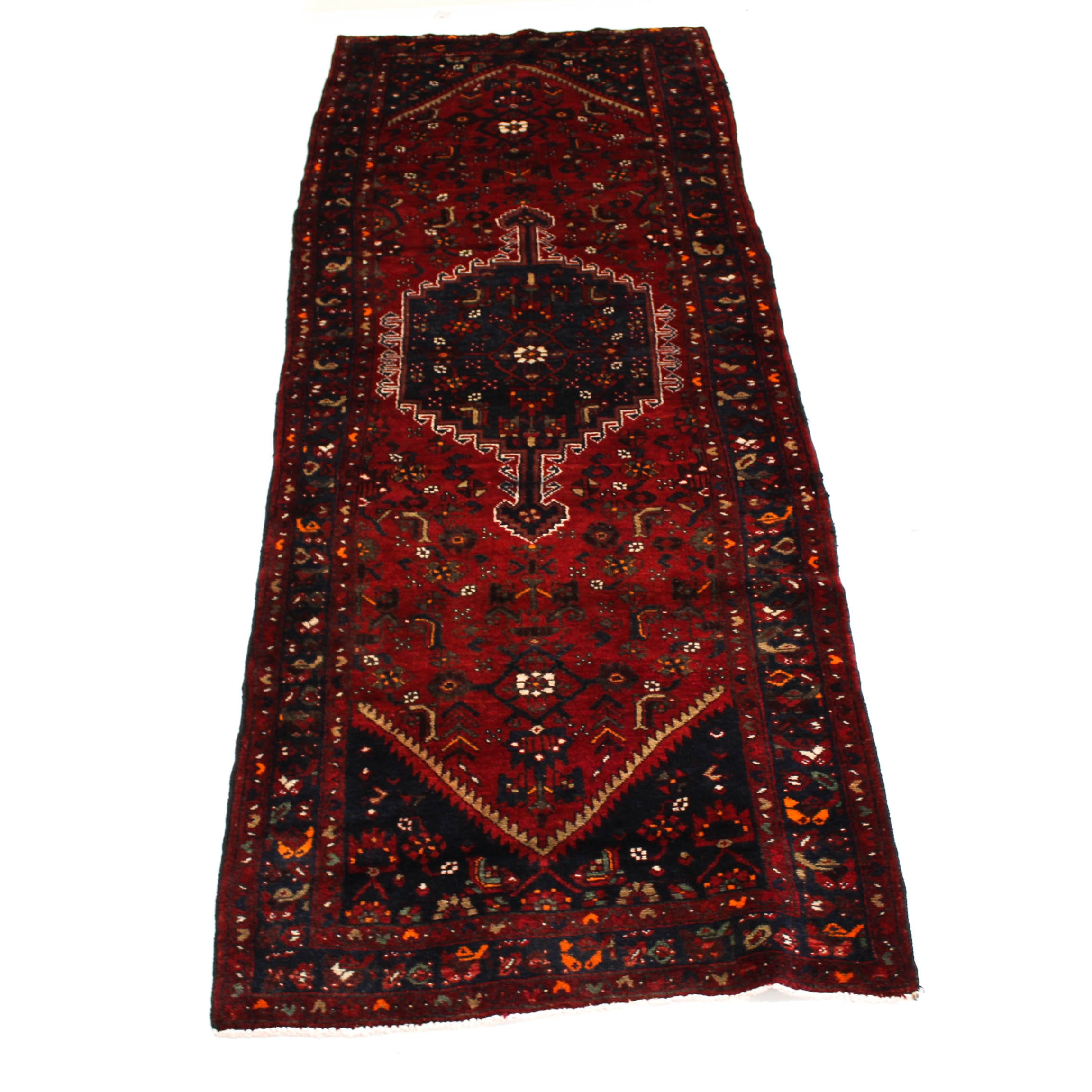 3'9 x 10'4 Semi-Antique Hand-Knotted Persian Zanjan Carpet Runner