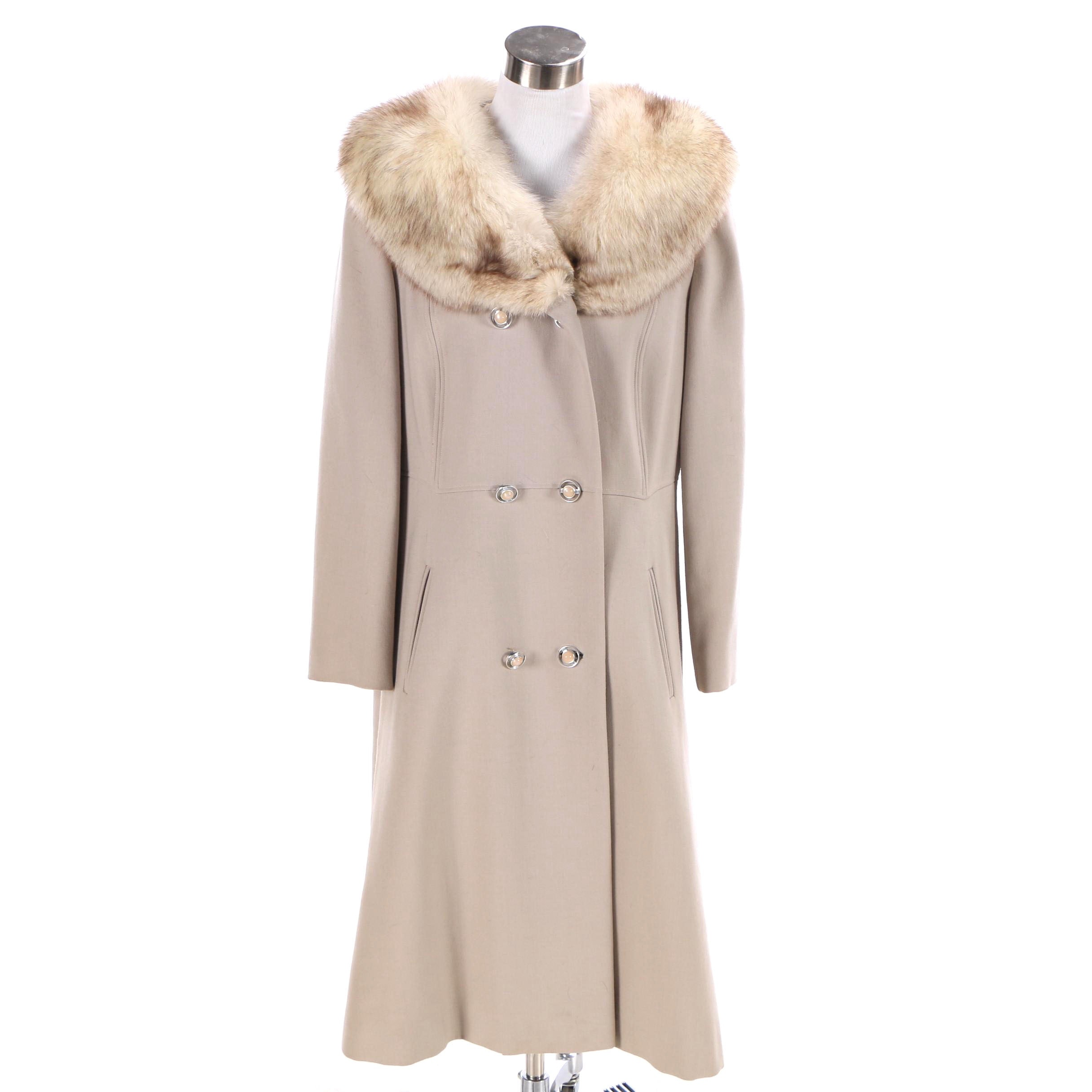 Women's 1970s Vintage Lorendale Wool Princess Coat with Fox Fur Collar