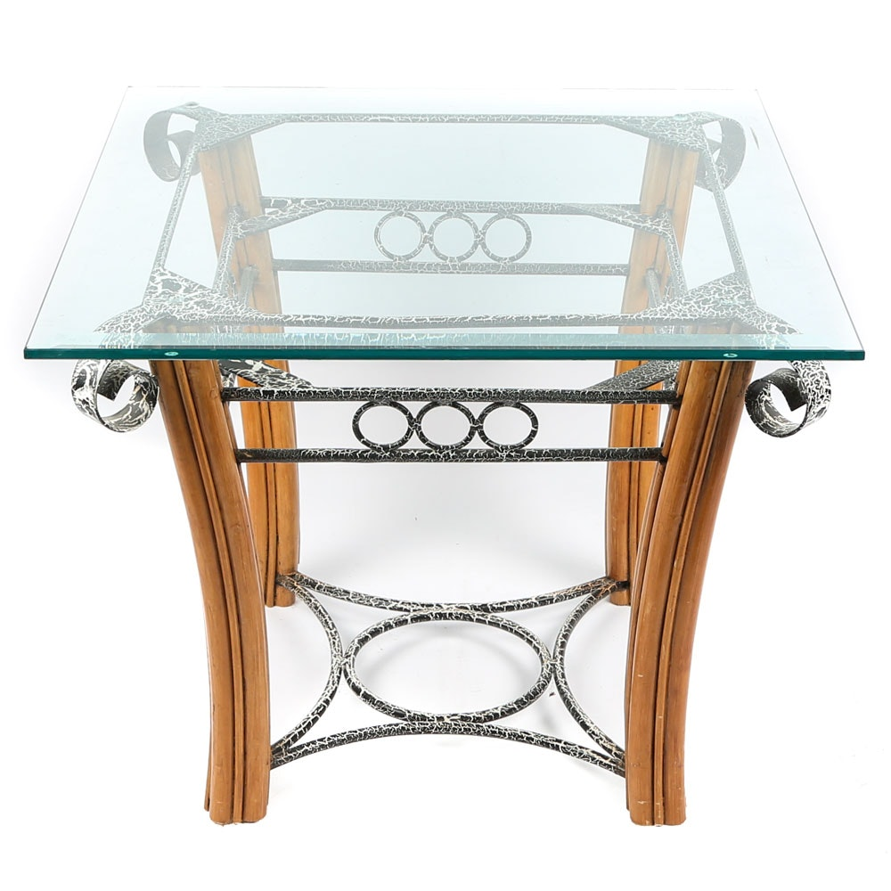 Contemporary Oak Glass Top Accent Table