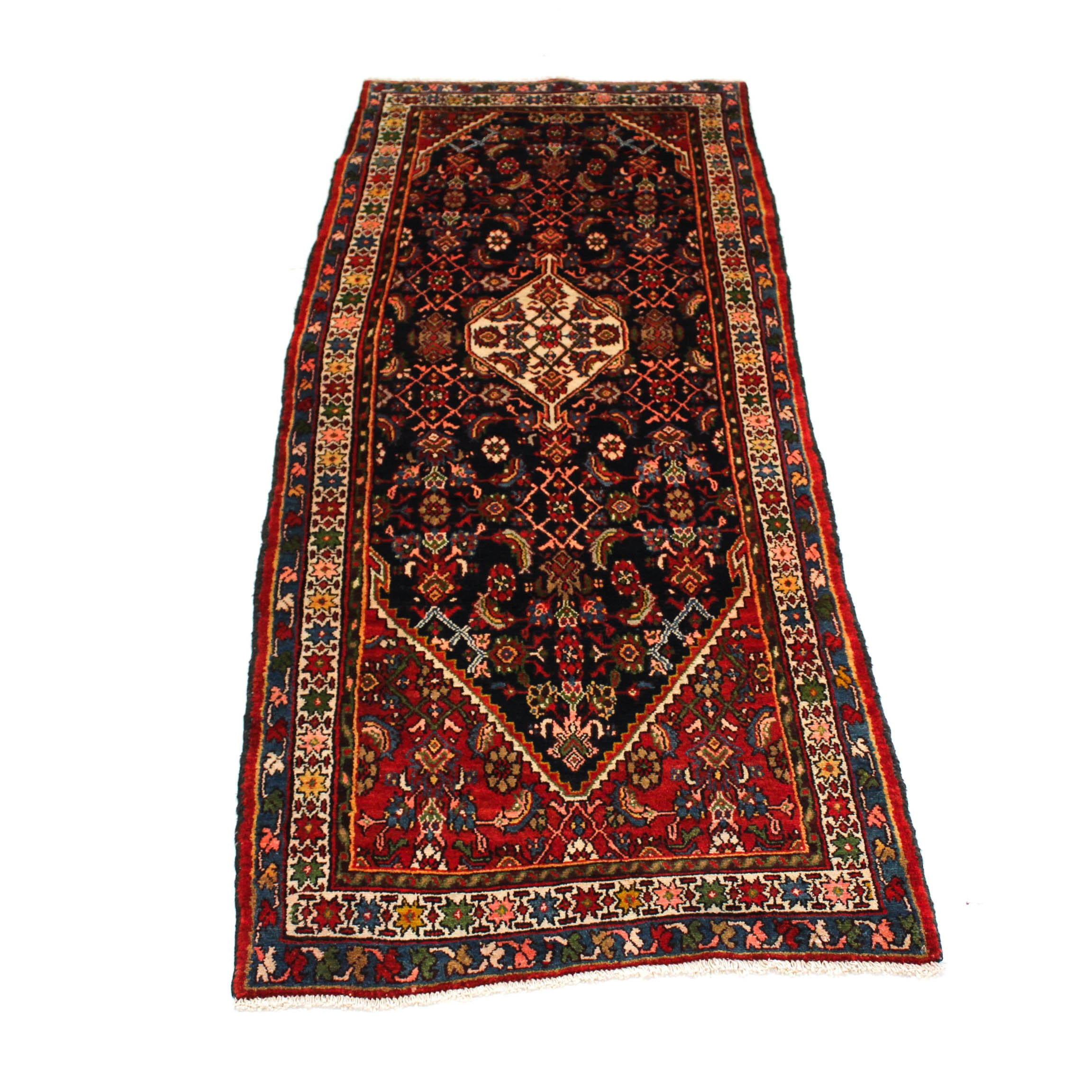 3'7 x 9'6 Semi-Antique Hand-Knotted Persian Malayer Carpet Runner