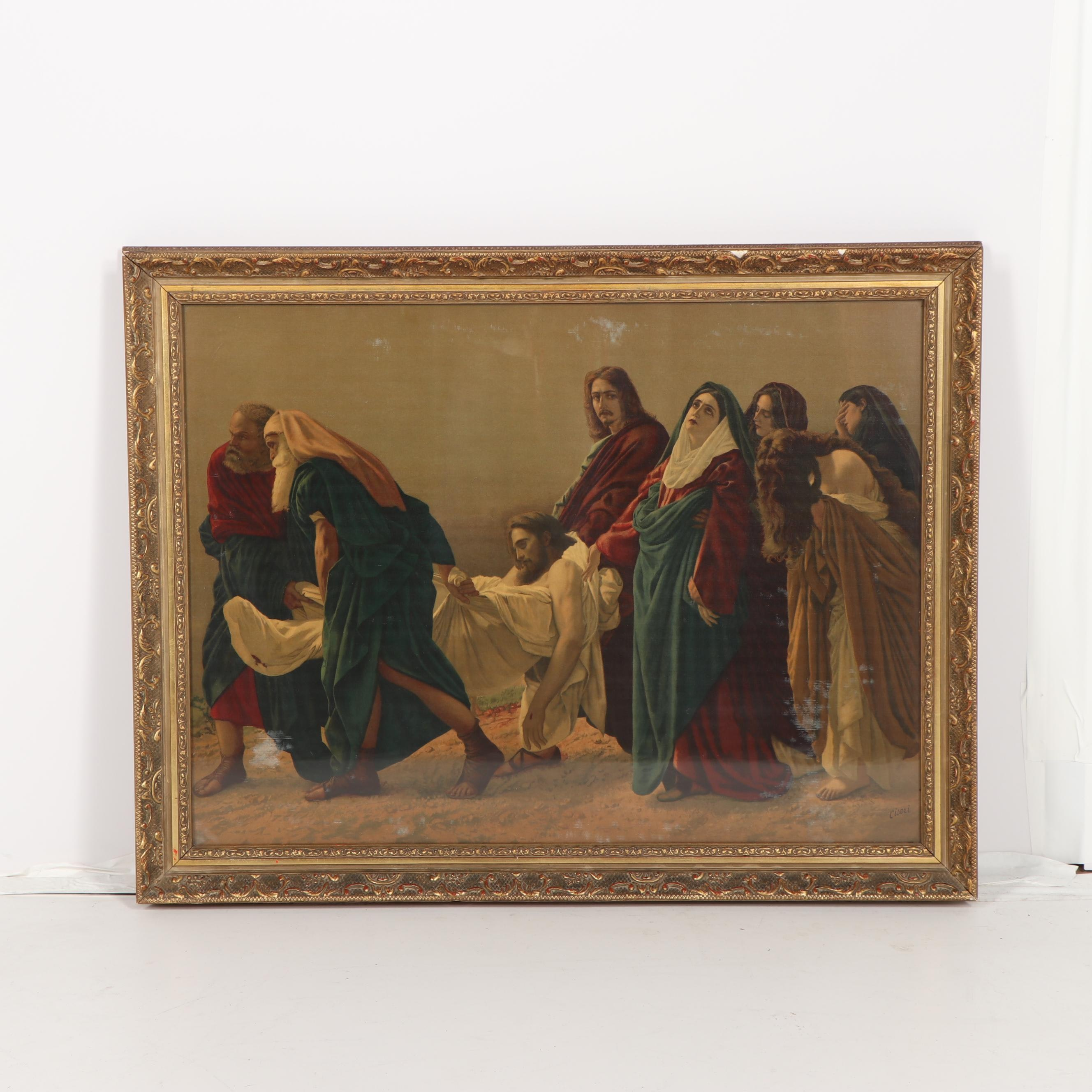 "Chromolithograph on Canvas after Antonio Ciseri ""The Entombment"""