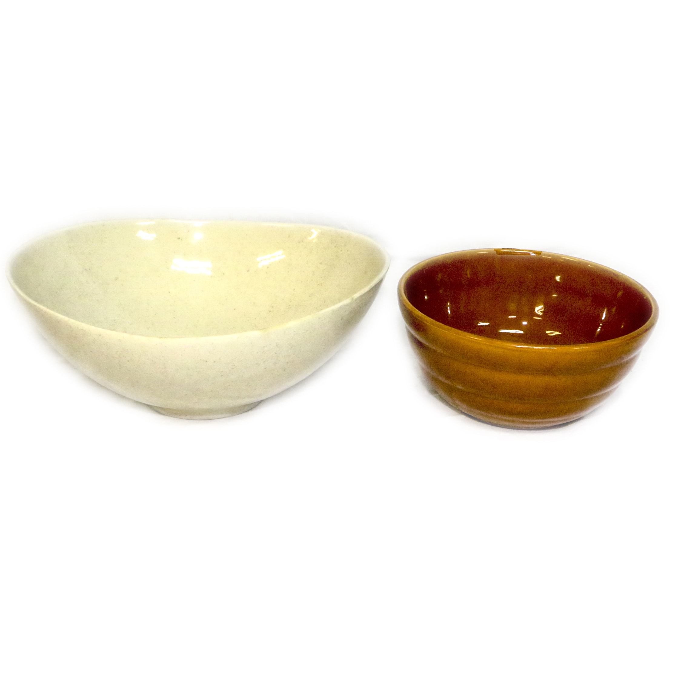 Vintage Red Wing Pottery Salad Bowl with Bauer Mixing Bowl