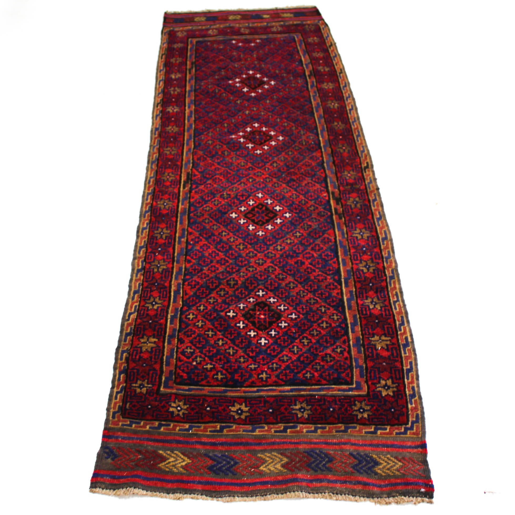 2'6 x 8'8 Semi-Antique Hand-Knotted Afghani Baluch Carpet Runner