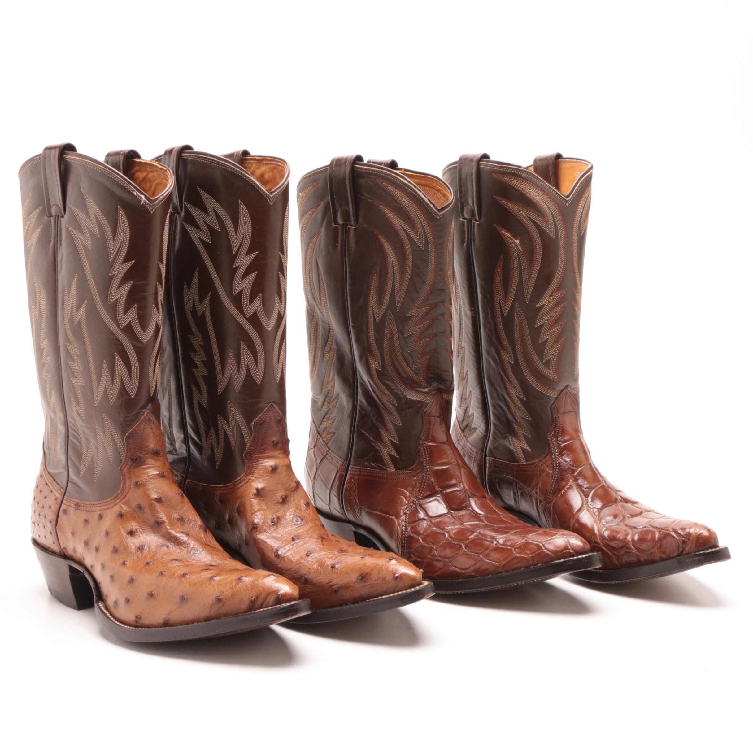 Men's Nocona Alligator and Ostrich Skin and Leather Cowboy Boots