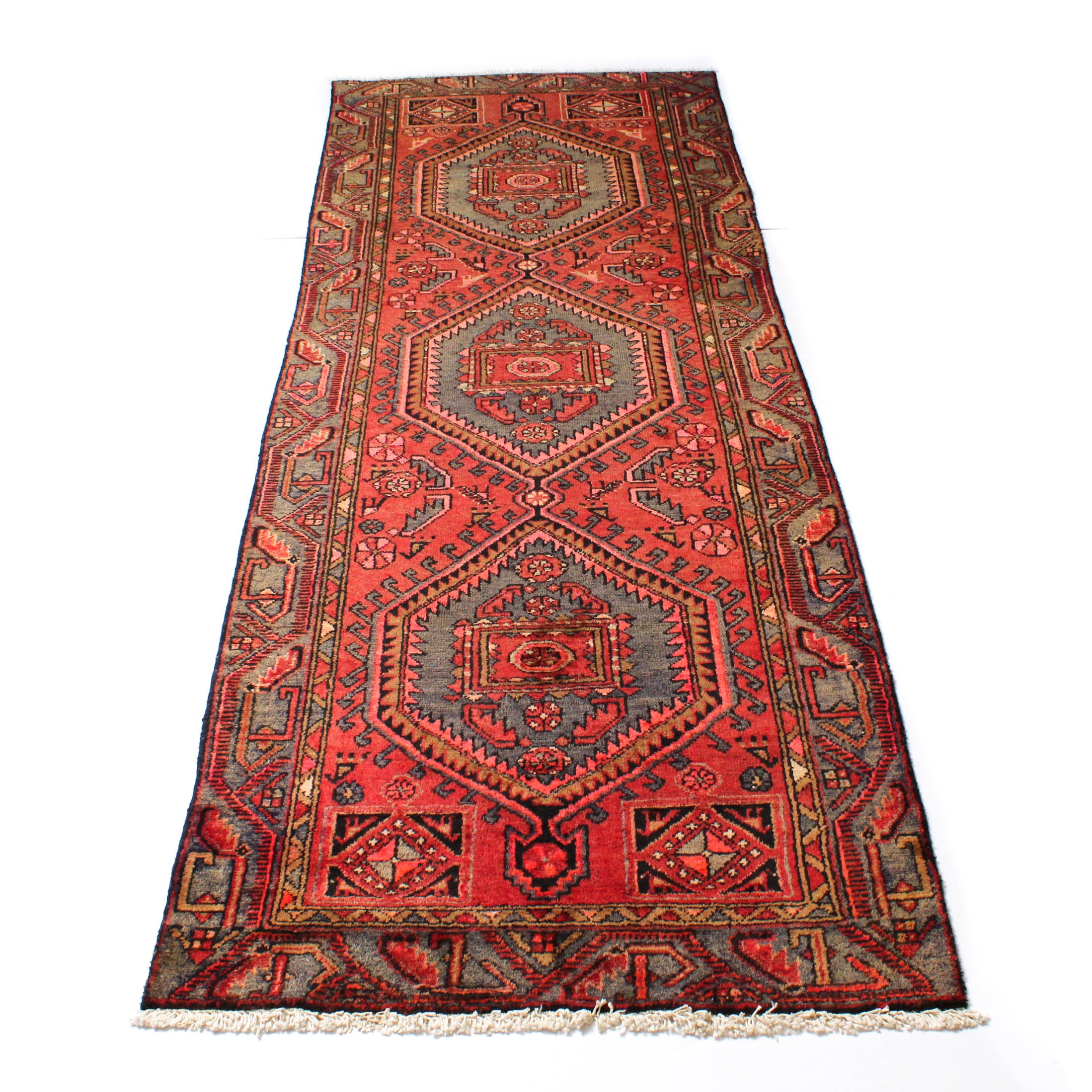 3'2 x 9'5 Semi-Antique Hand-Knotted Persian Malayer Carpet Runner