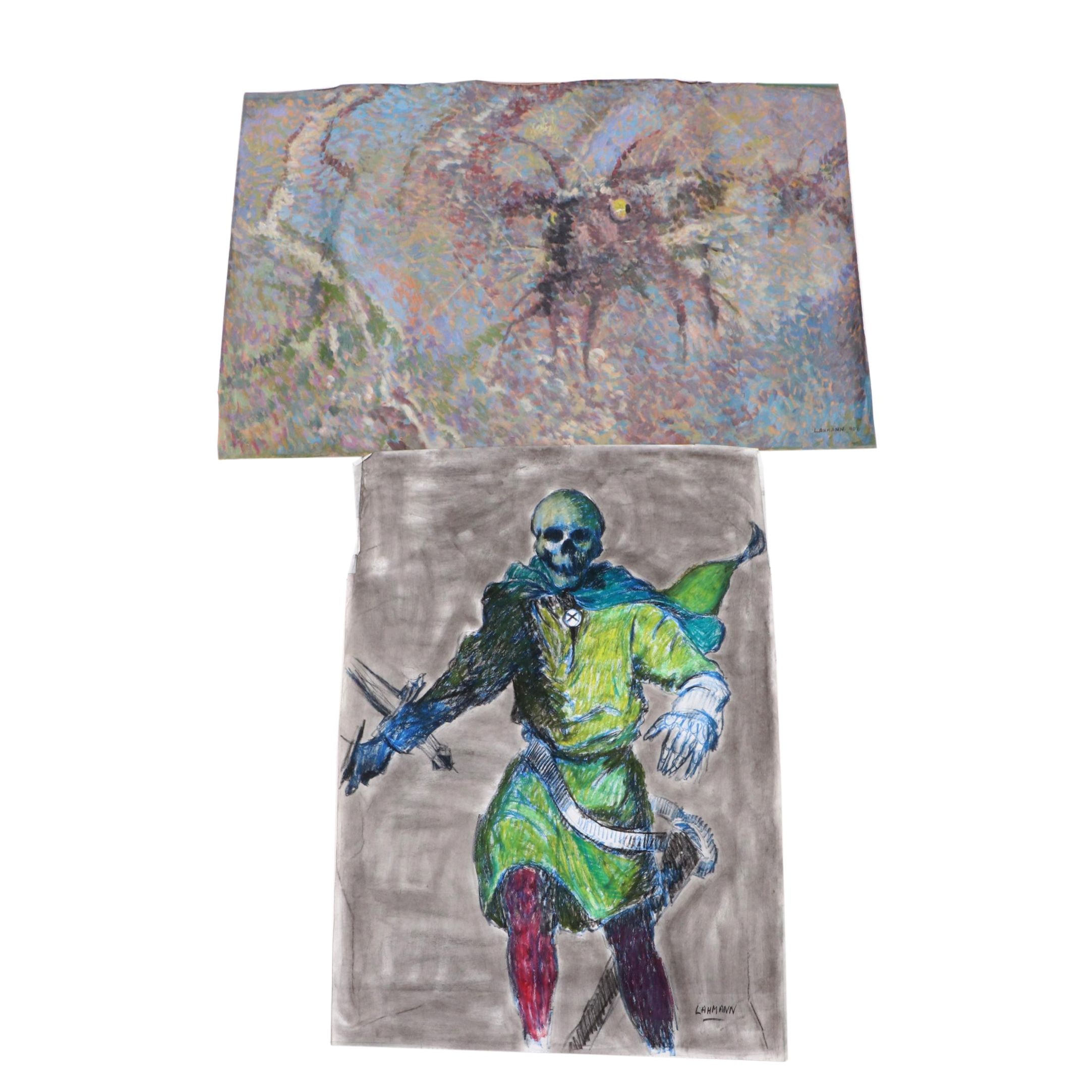 Robert Lahmann Drawing of Grim Reaper and Abstract Painting of Creature