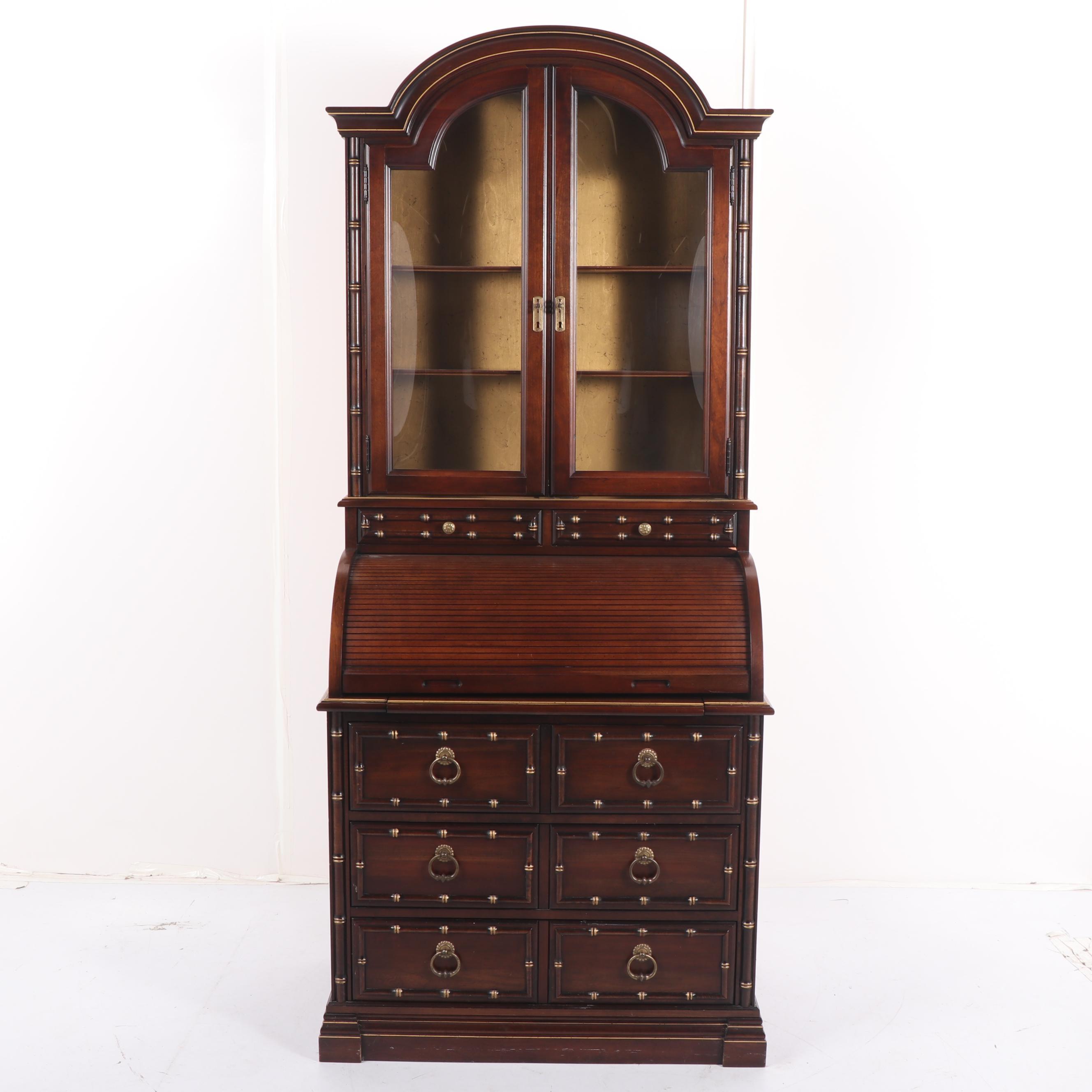 Walnut Secretary Bookcase by Jasper Cabinet, Late 20th Century